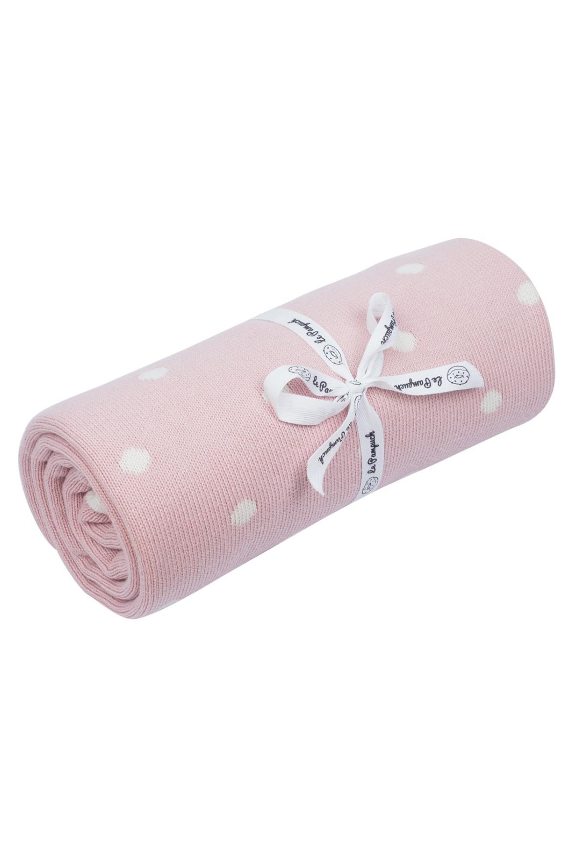 Kocyk bawełniany w kropki 100x80cm - różowy
