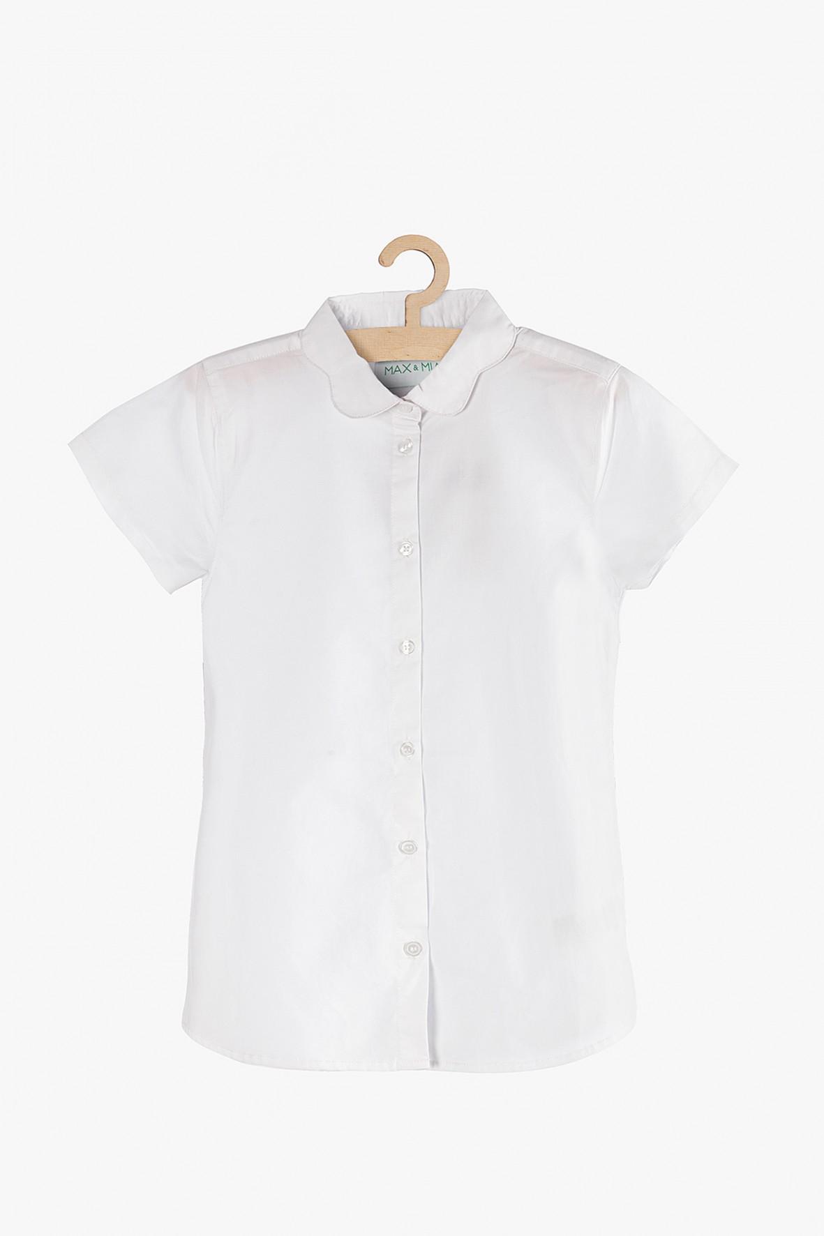 Koszula dziewczęca rozpinana biała -krótki rękaw
