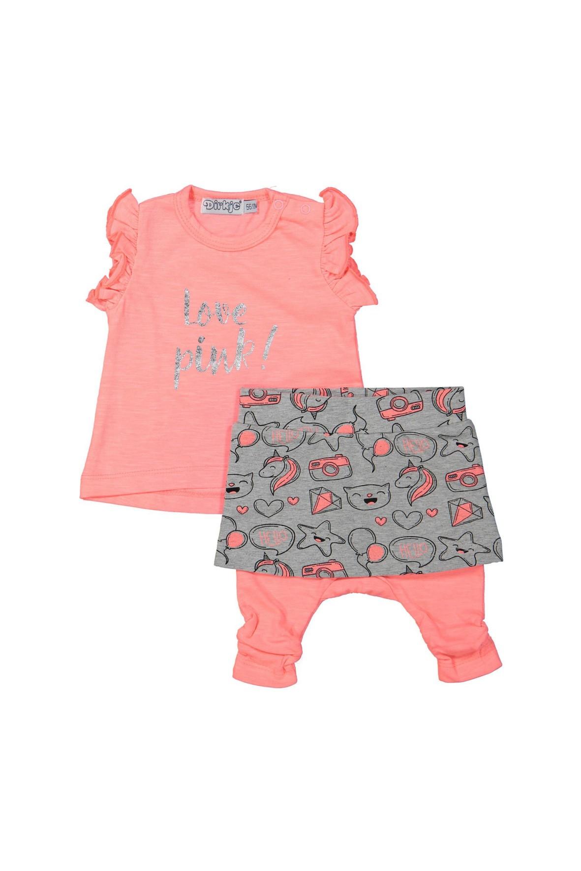 Komplet niemowlęcy bluzka i spodnie z falbanką