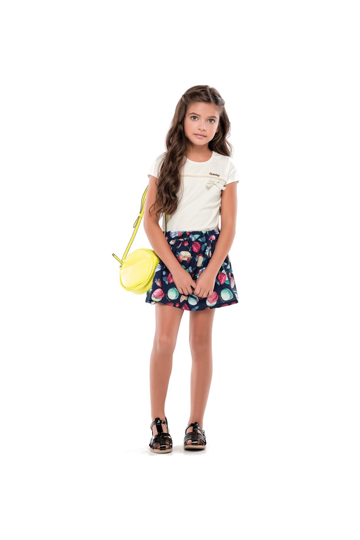 Komplet dziewczęcy spódniczka w owocowe wzory i t-shirt