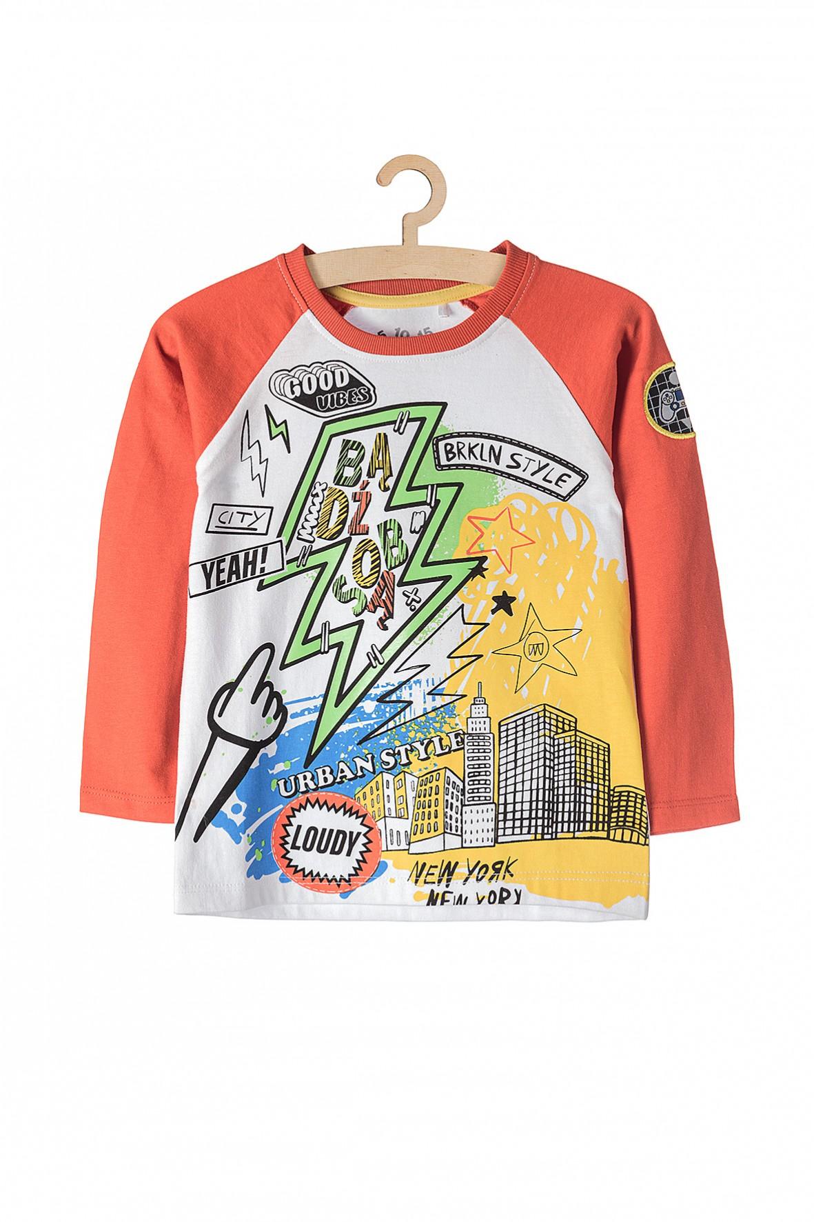 Bluzka bawełniana z długim rękawem- kolorowe nadruki i napis Bądź sobą
