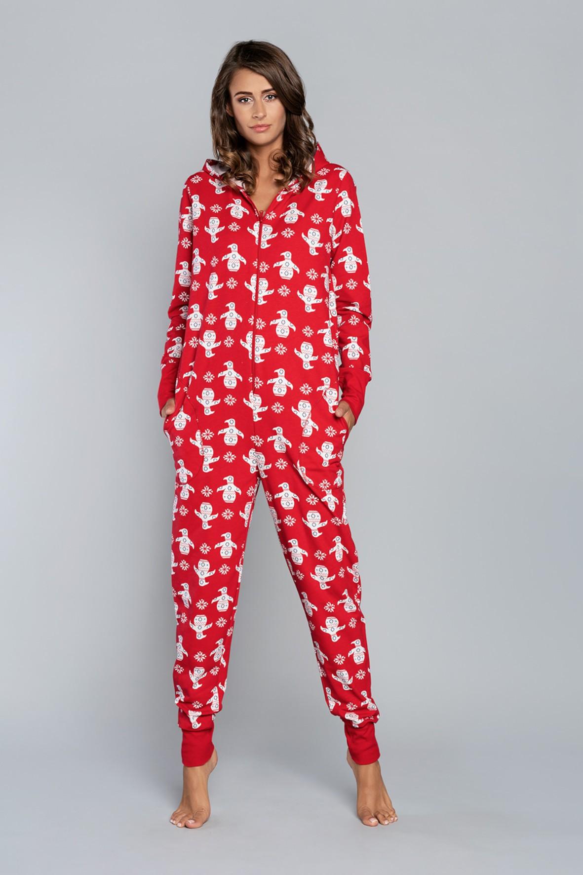 Kombinezon damski w ingwiny -długi rękaw, długie spodnie - czerwony