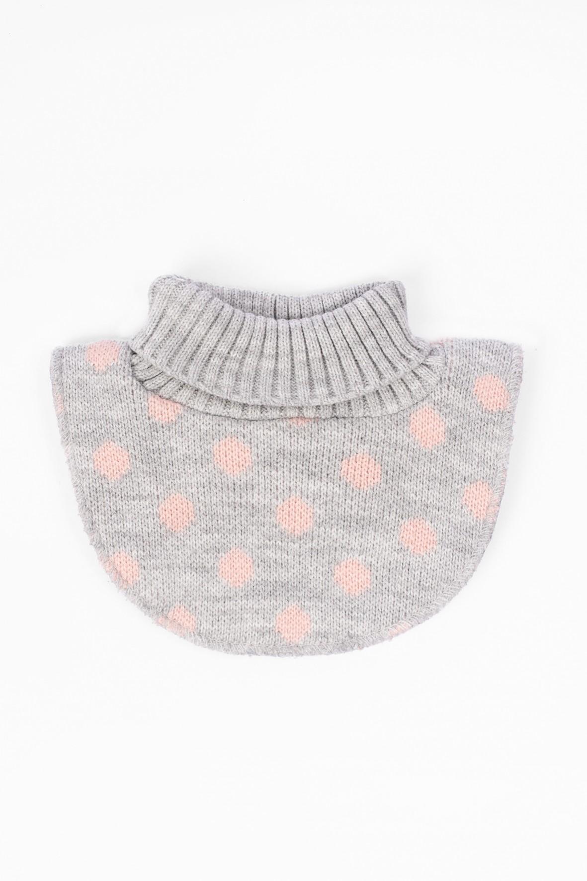 Półgolf dla dziewczynki- szary w różowe groszki