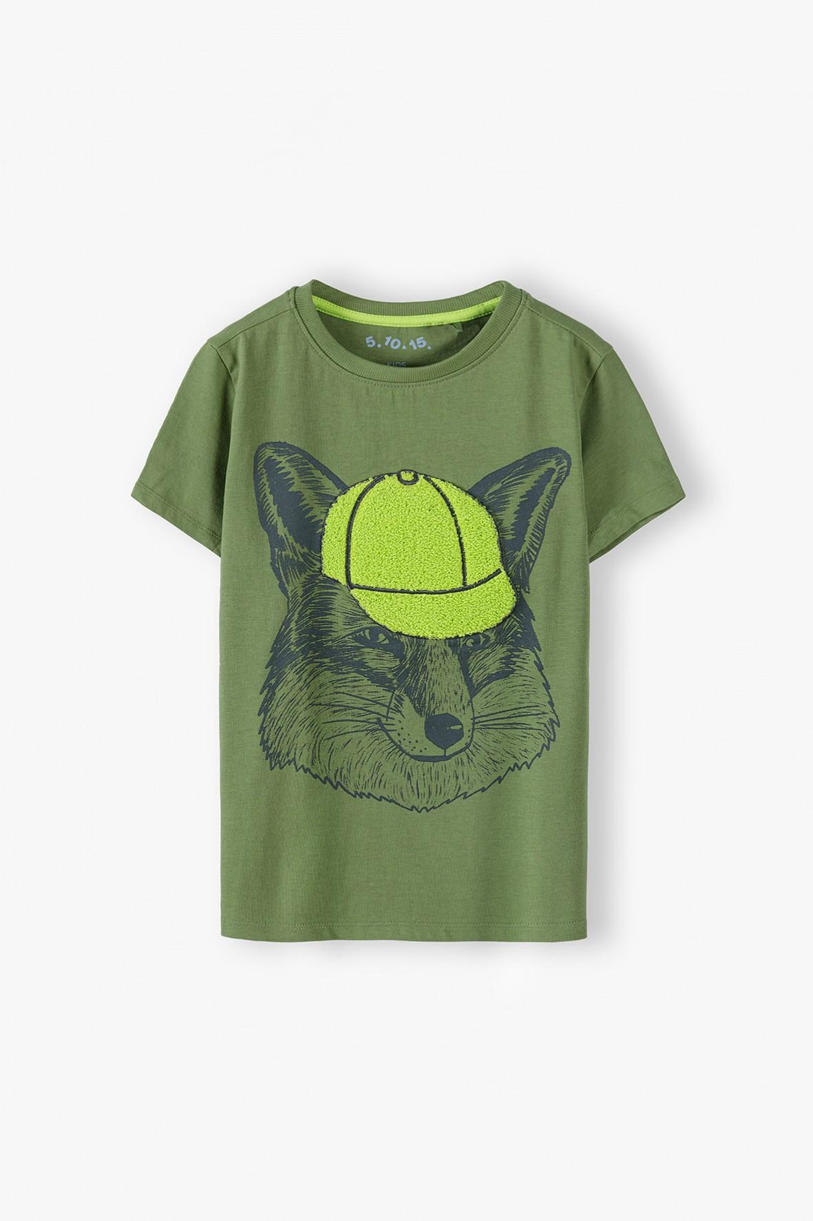T-shirt chłopięcy bawełniany zielony z nadrukiem lisa