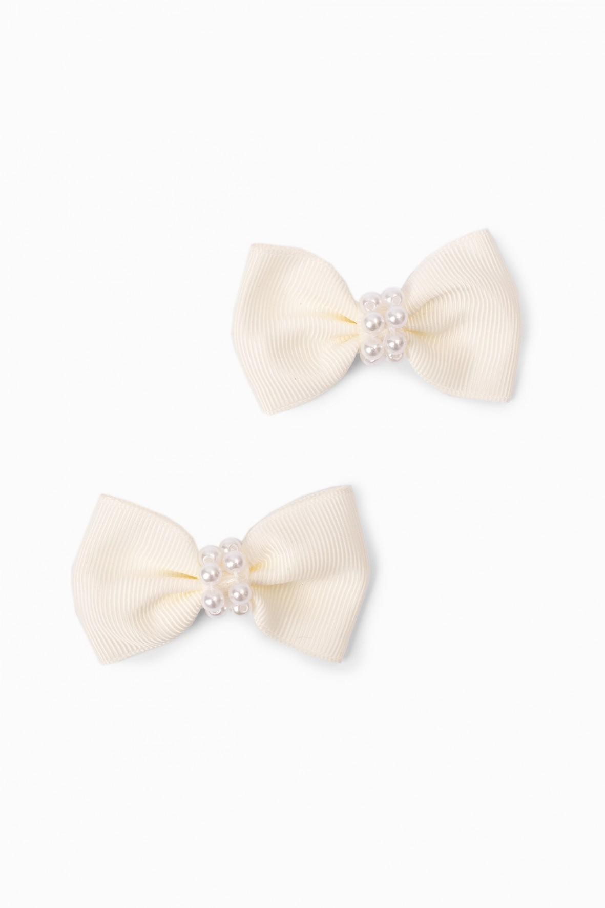 Spinki do włosów dla dziewczynki w kształcie kokardek z koralikami - białe
