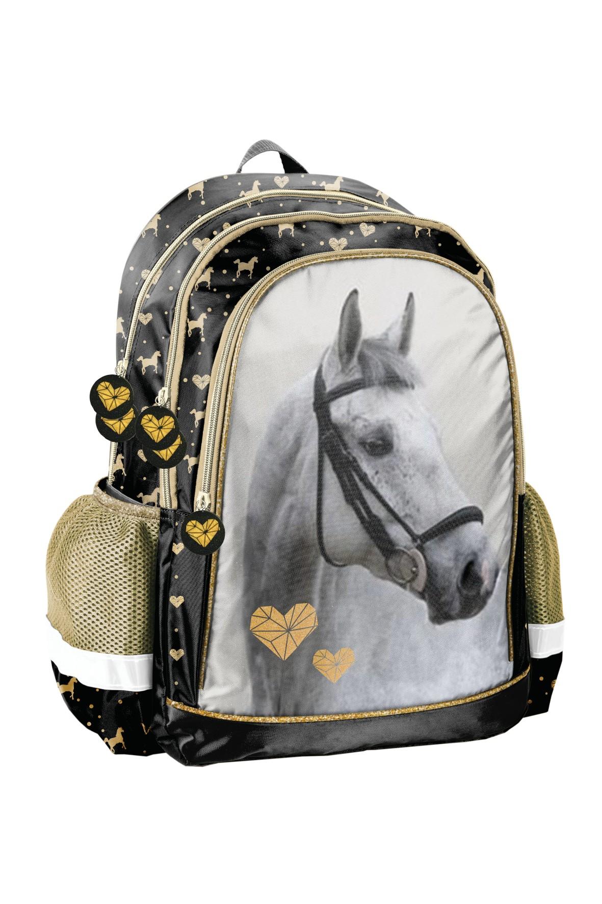 Plecak szkolny czarno-złoty z Koniem