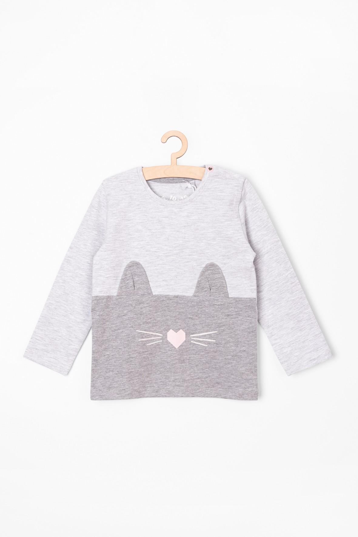 Bluzka dziewczęca z kotkiem-szara z kotkiem