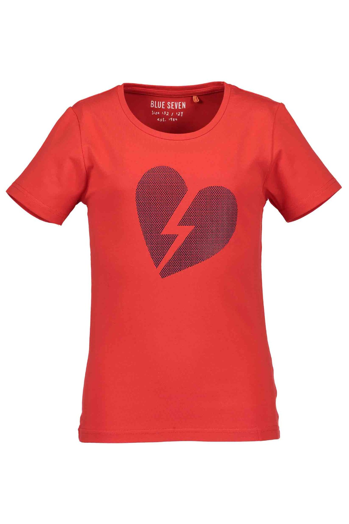 T-Shirt dziewczęcy czerwony z sercem i błyskawicą