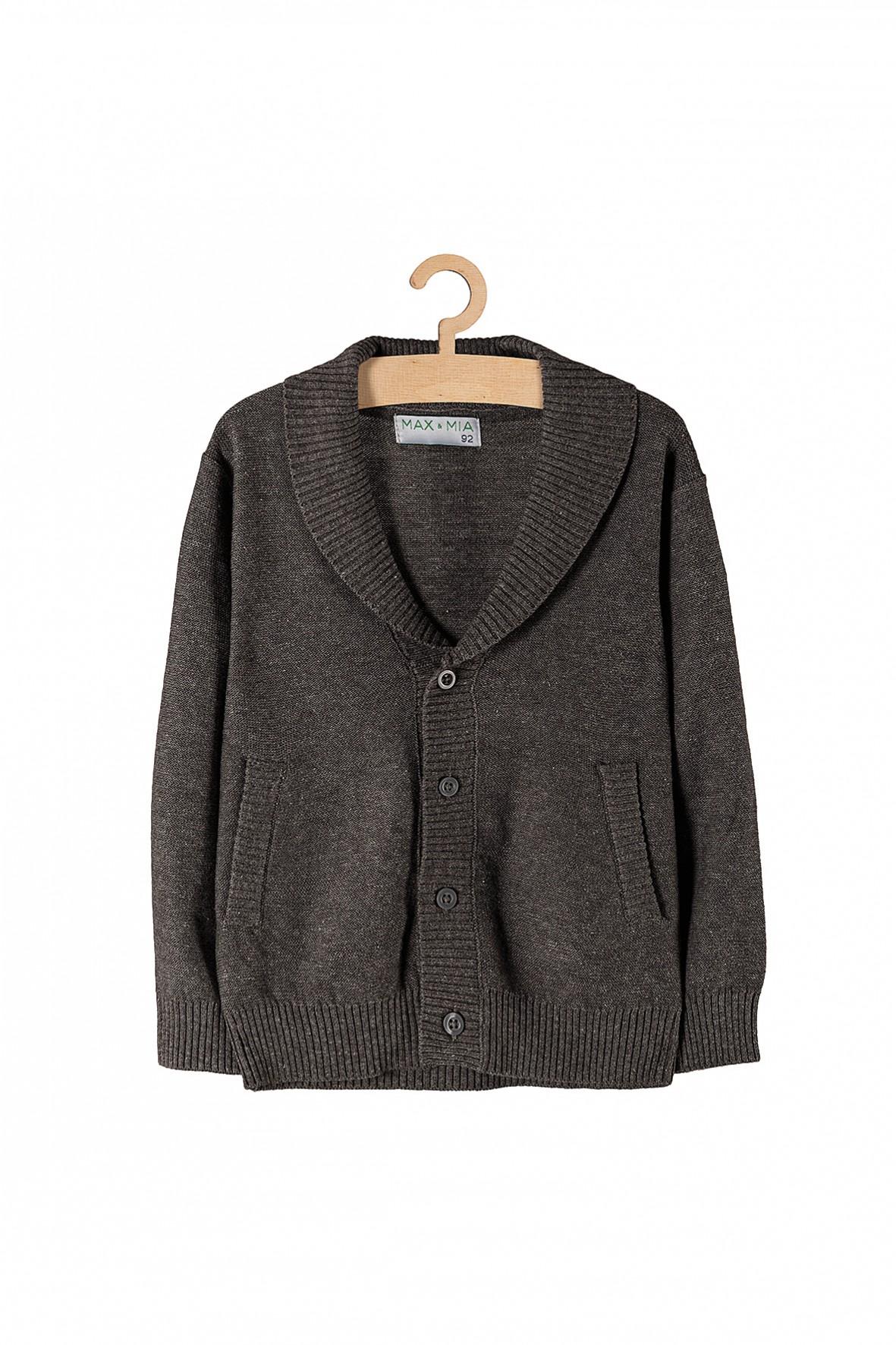 Sweter chłopięcy szary zapinany