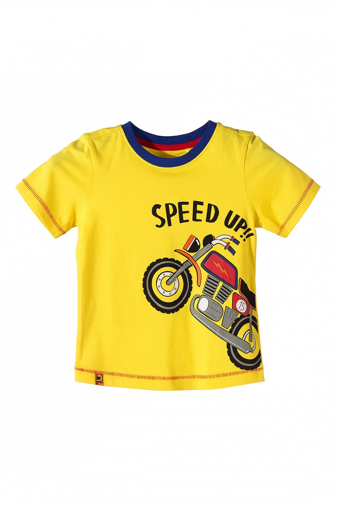 Wybitny Żółty t-shirt dla chłopca z motocyklem. T-shirty chłopięce w 5.10.15. DZ16