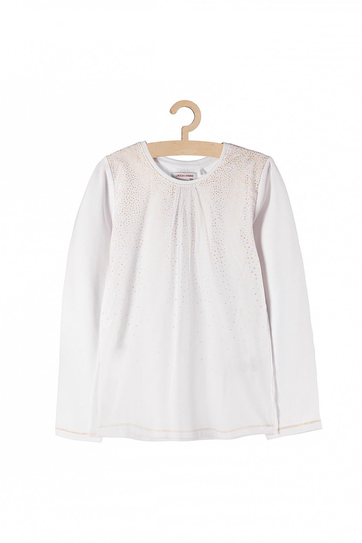 Bluzka dziewczęca biała z tiulową wstawką i złotymi zdobieniami