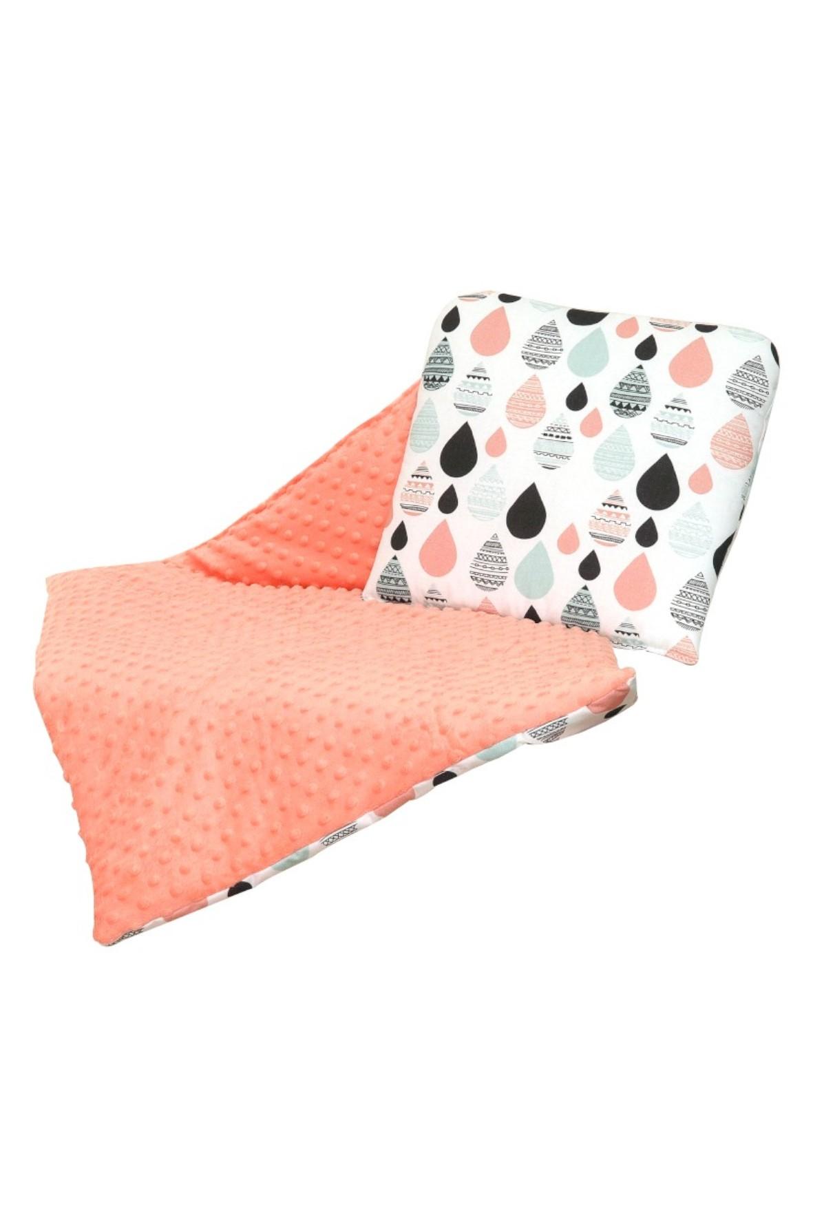 Kołderka z poduszką Amy do wózka Aztec Minky-raindrops brzoskwinia
