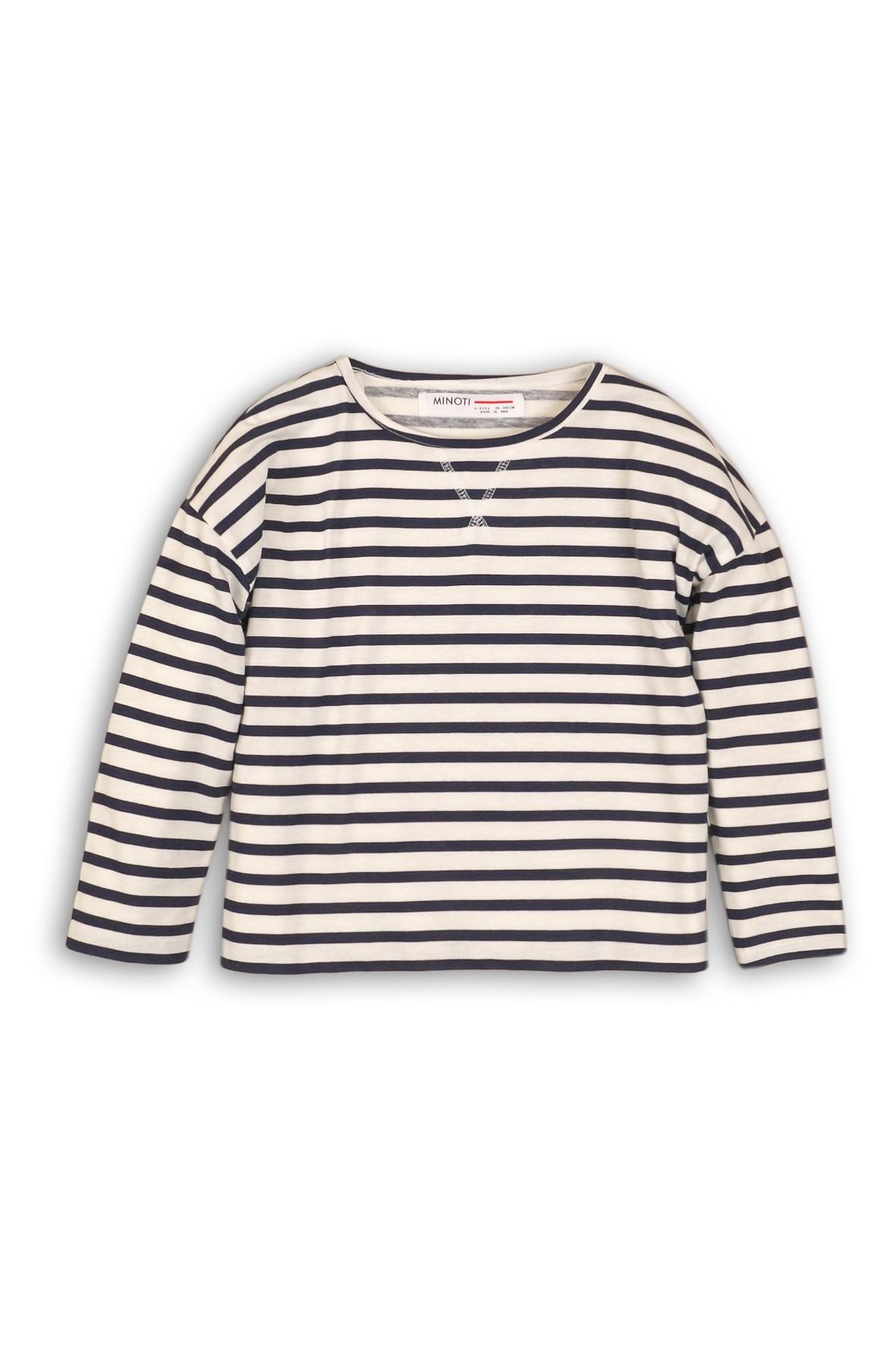 Bluzka dzianinowa dla dziewczynki- biała w granatowe paski