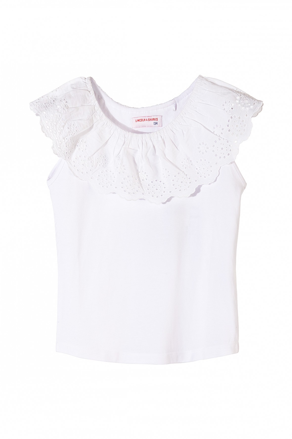 Bluzka dziewczęca biała z ozdobną haftowaną falbanką