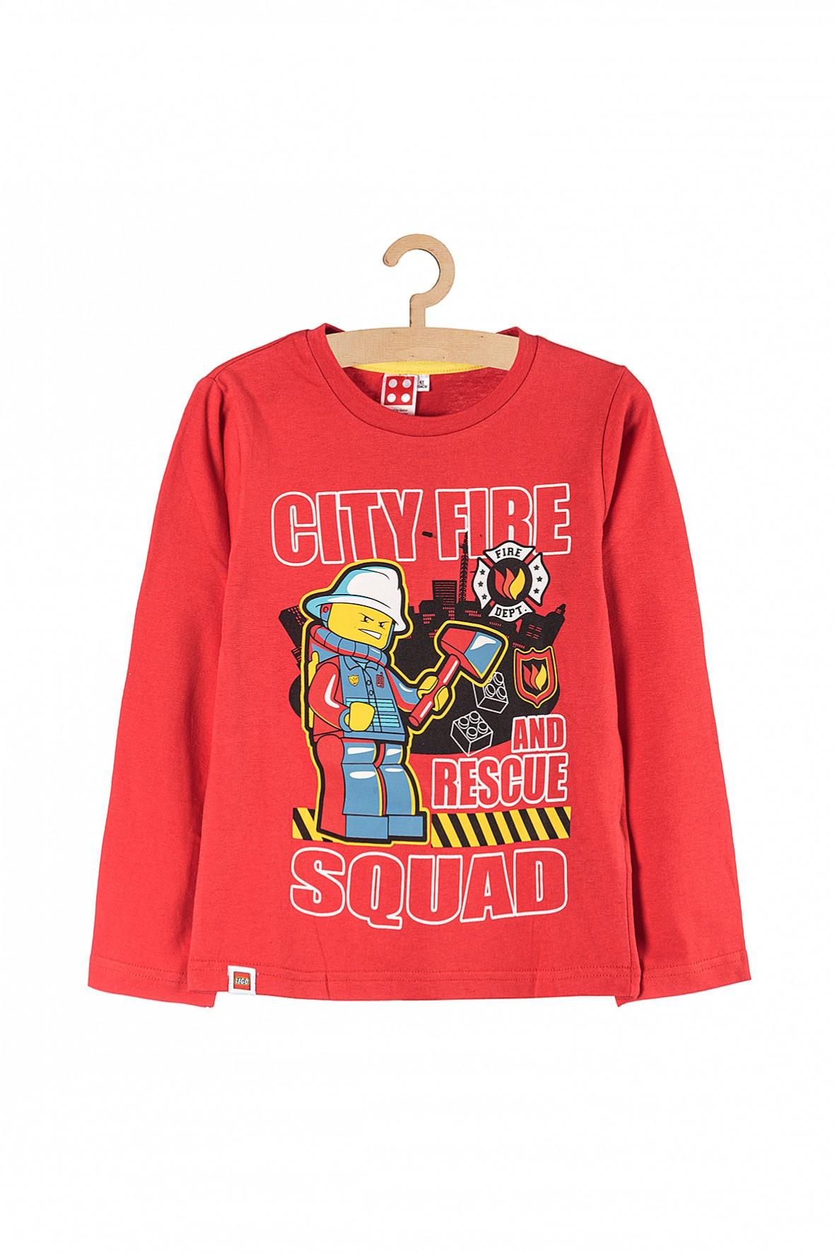 Bluzka chłopięca Lego City- czerwona z długim rękawem