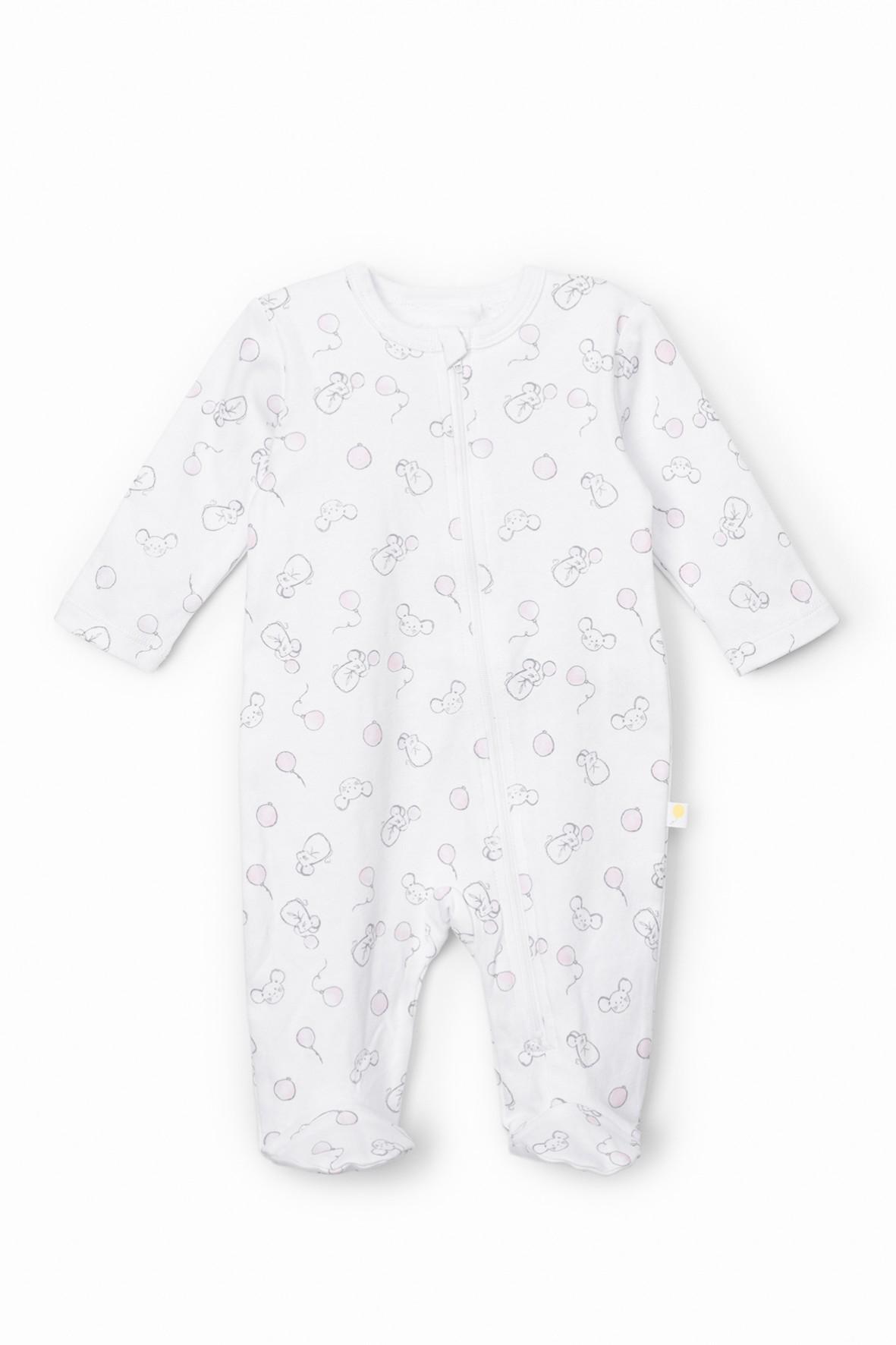 Pajac niemowlęcy w myszki - biały