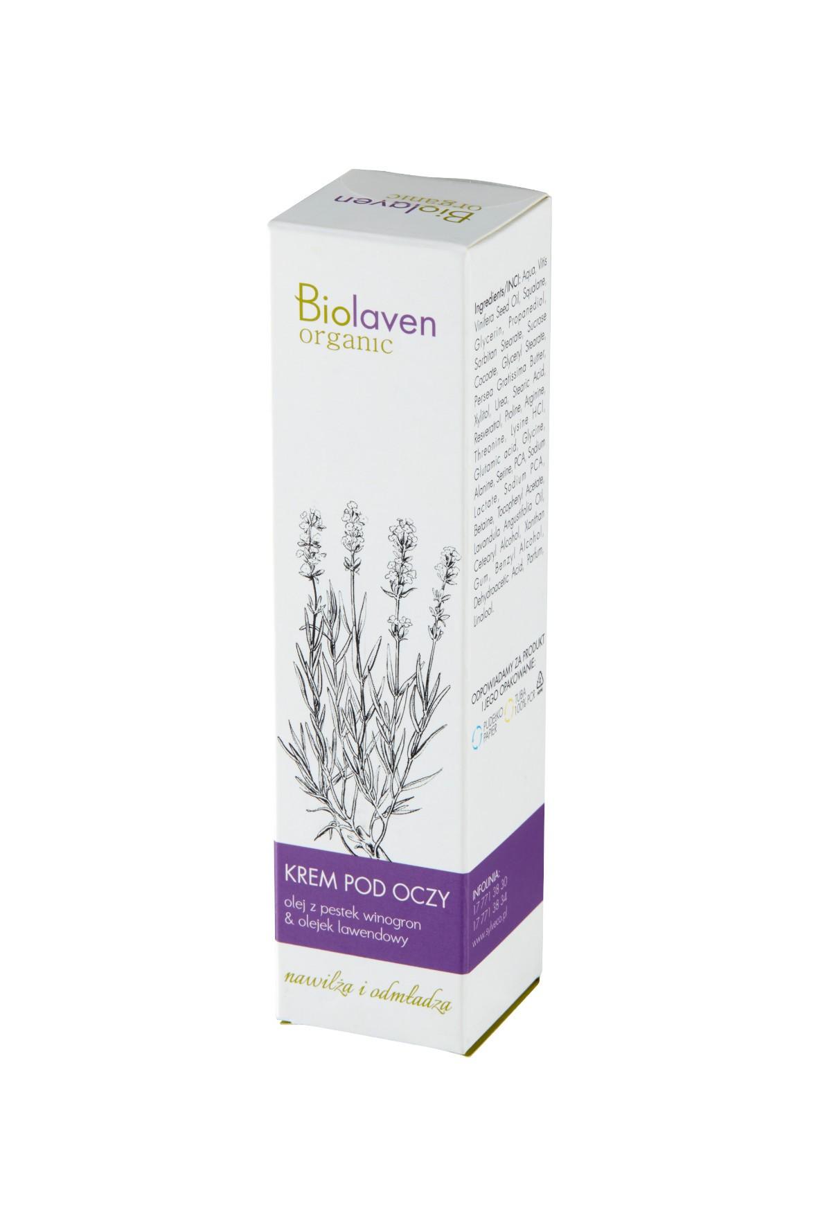 Nawilzający krem pod oczy Biolaven Organic 15 ml