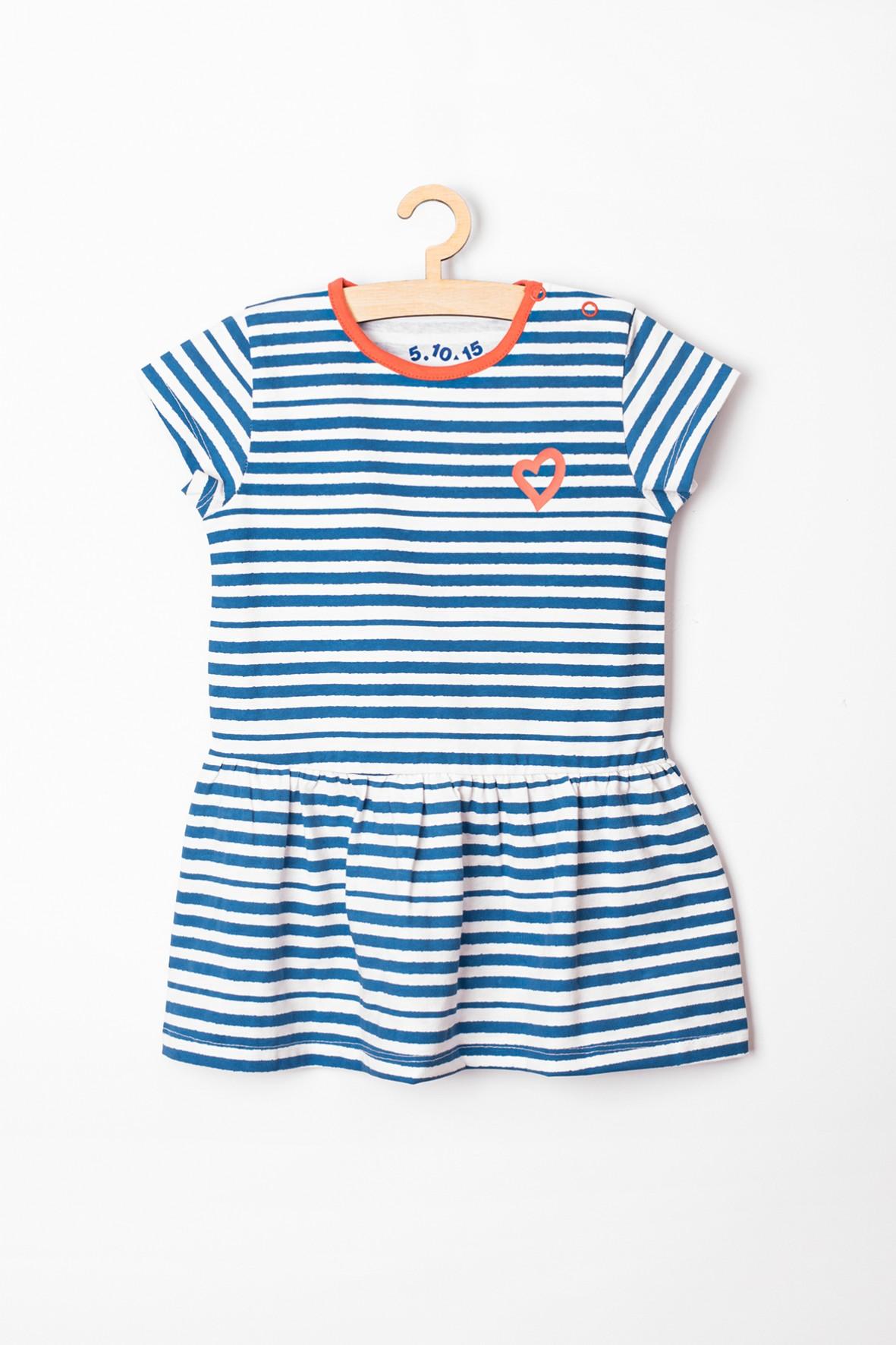 Sukienka dziewczęca bawelniana w niebiesko-białe paski