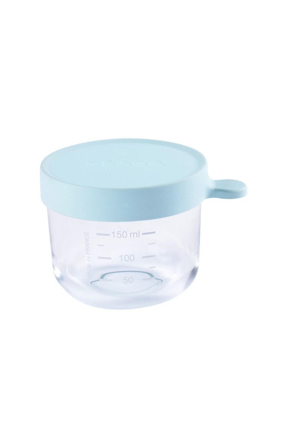 Pojemnik słoiczek szklany z hermetycznym zamknięciem 150 ml Beaba- niebieski