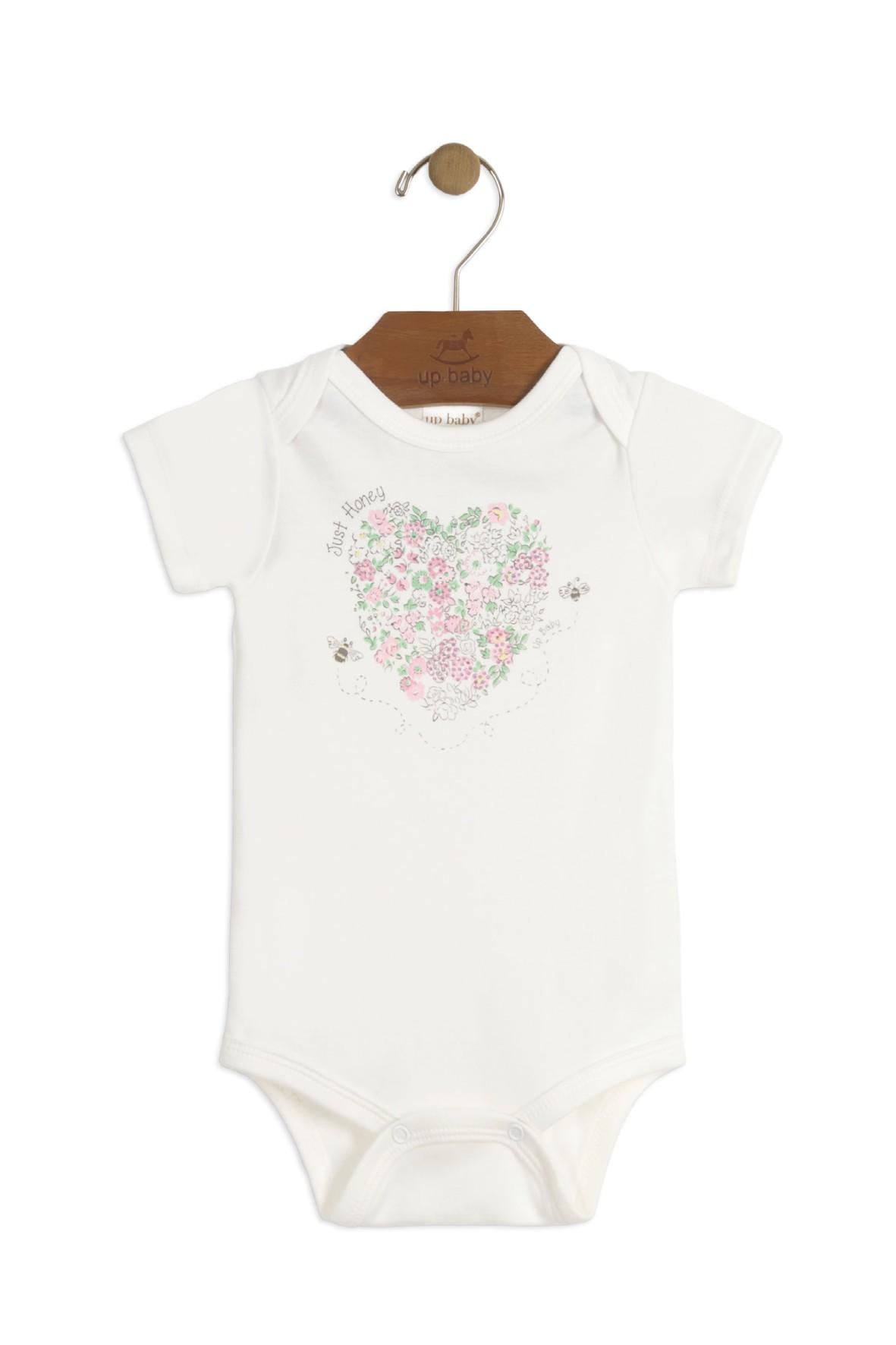 Body niemowlęce białe z krótkim rękawem i kolorowym nadrukiem