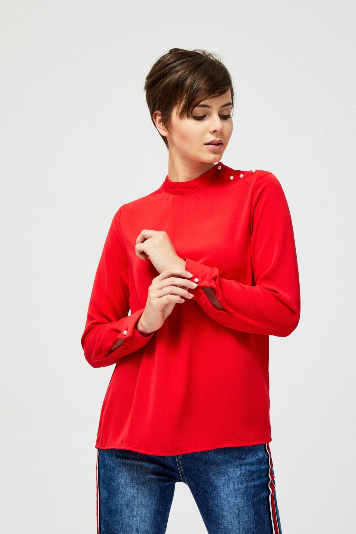 Czerwona bluzka damska z perełkami