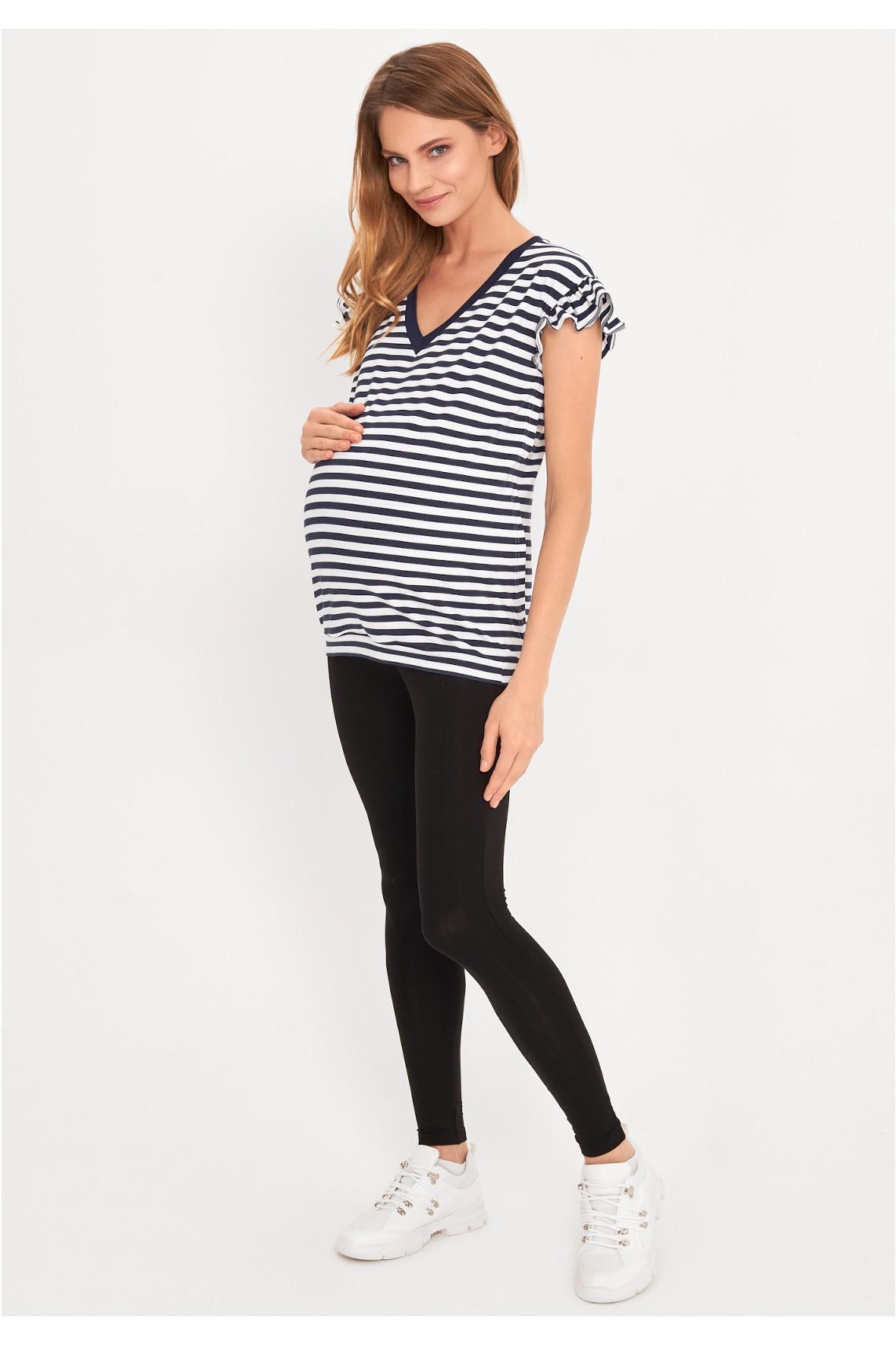 T-shirt ciążowy i dla karmiącej - granatowo-białe paski