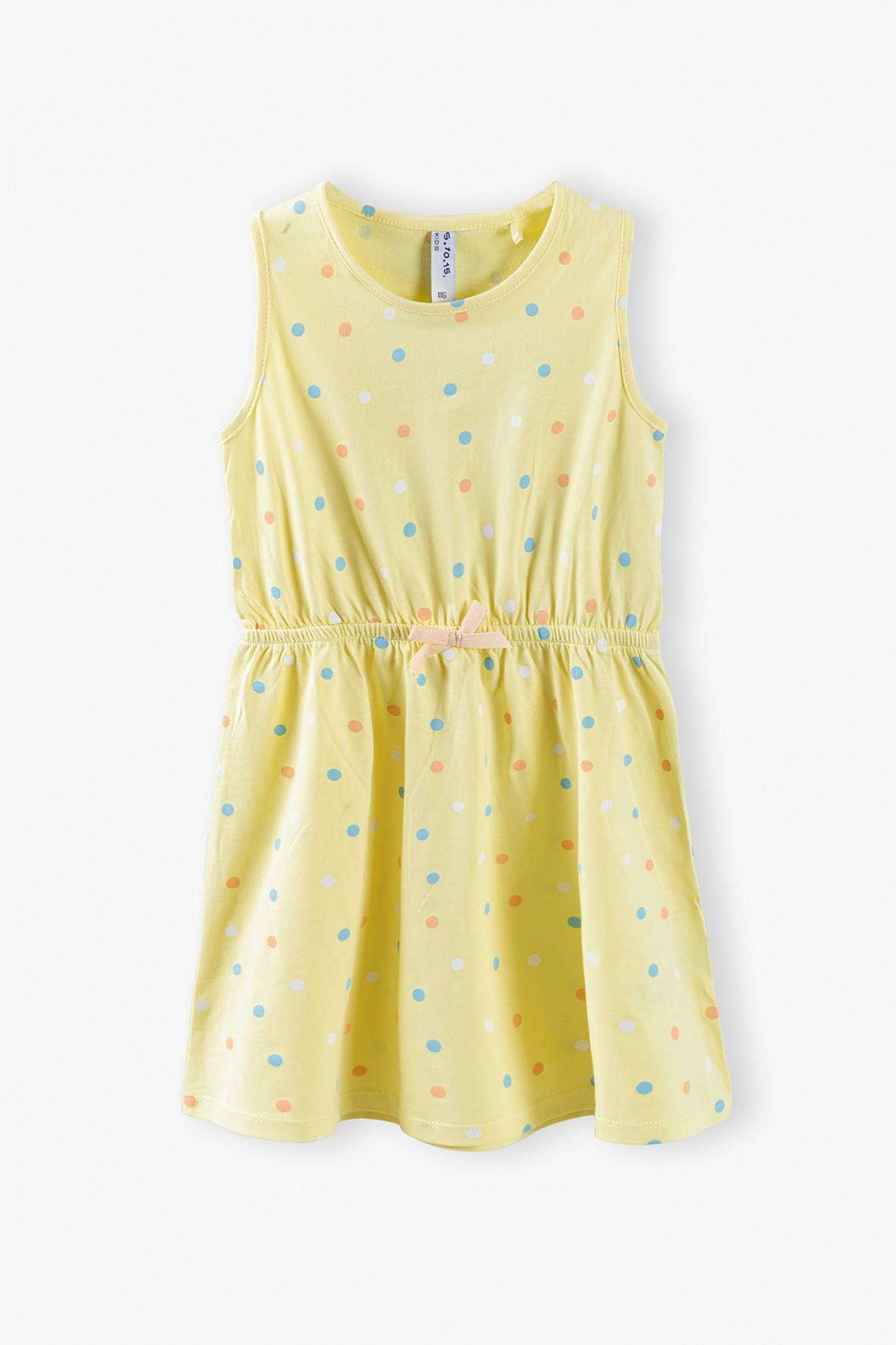 Sukienka w kolorowe kropeczki - żółta