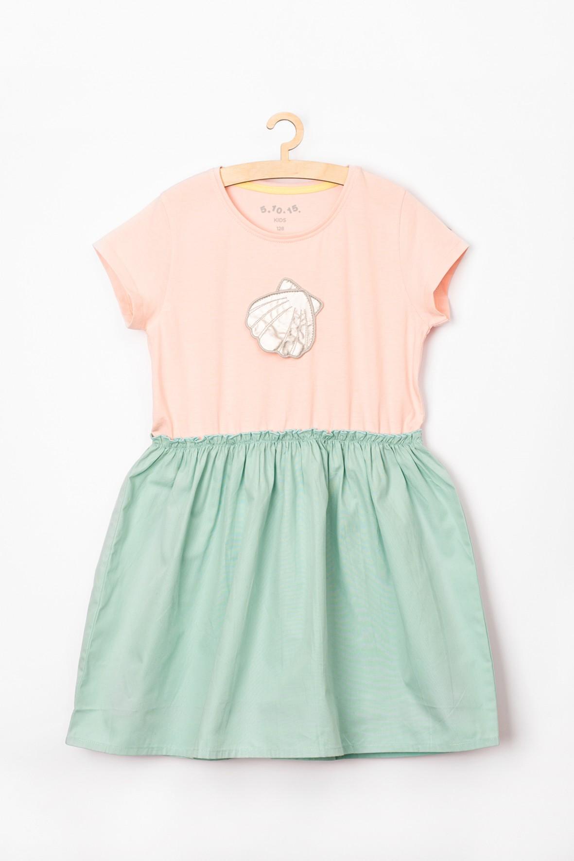 Sukienka dziewczęca różowo-morska