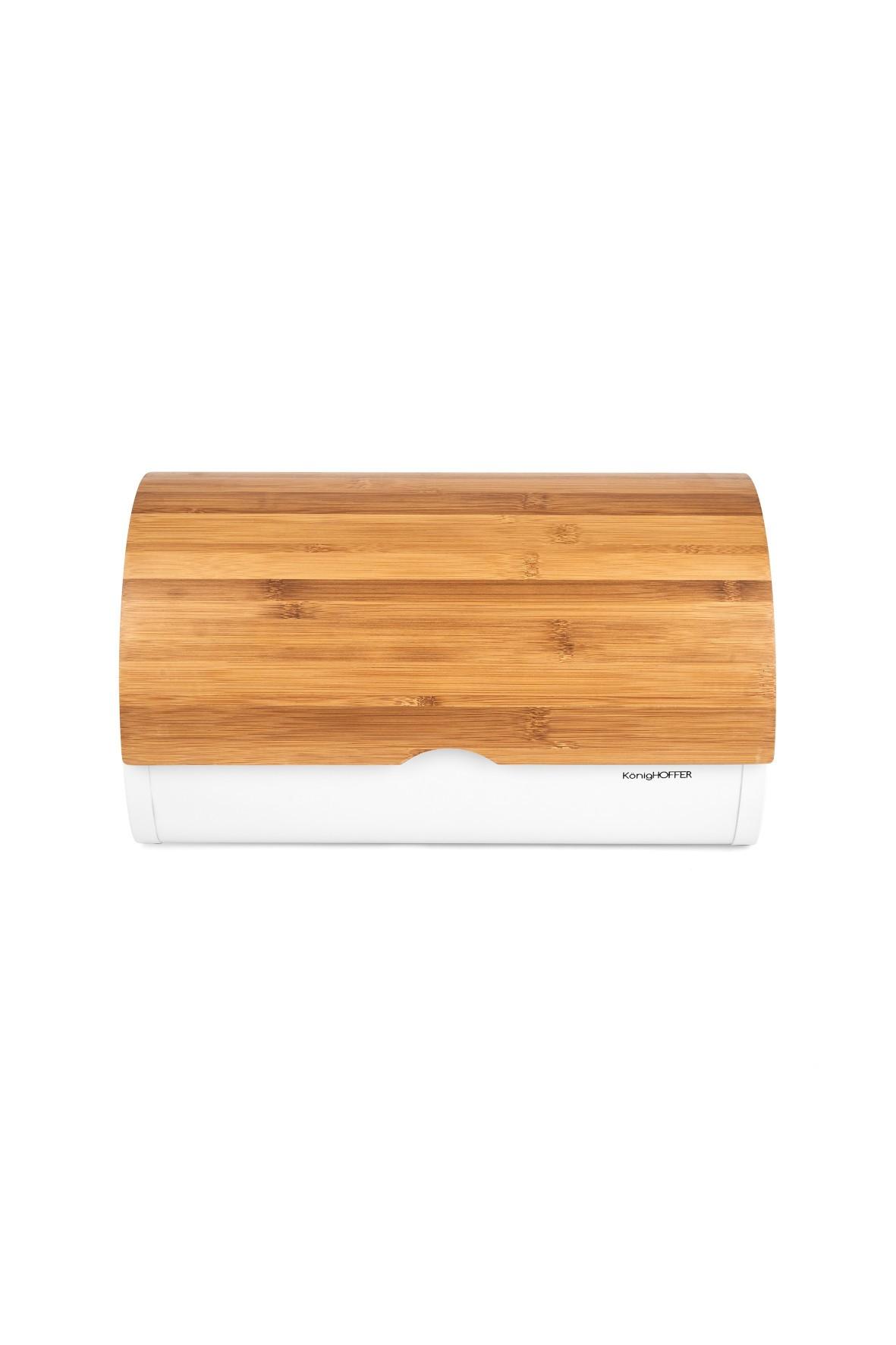 Bambusowy chlebak w kolorze białym - 39x28x18,5cm