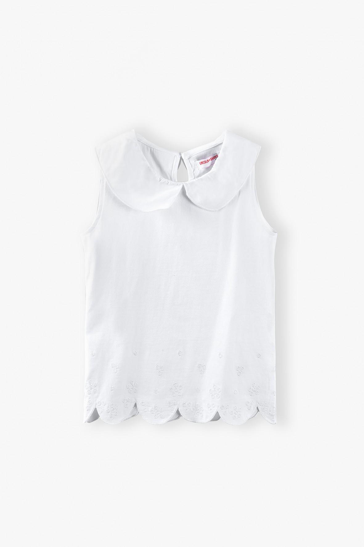 T-shirt dziewczęcy z koronkowym dołem - biały