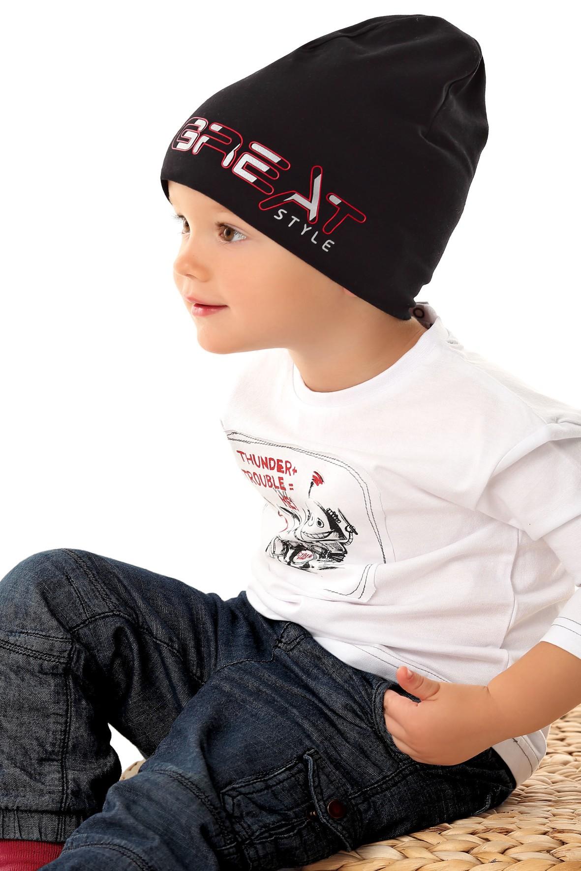 Czapka dziecięca w kolorze czarnym z napisem