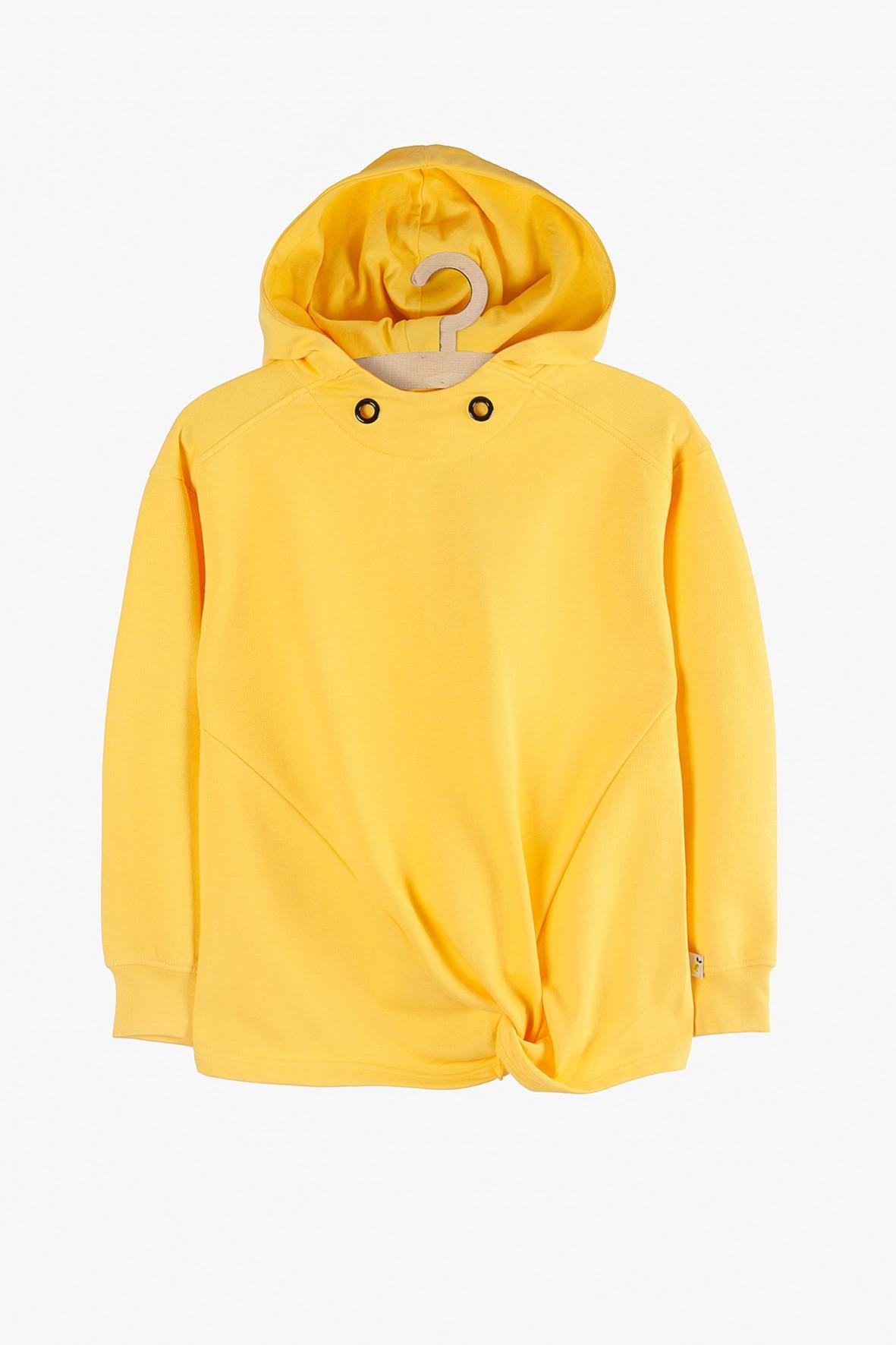 Bluza dresowa dziewczęca żółta z kapturem