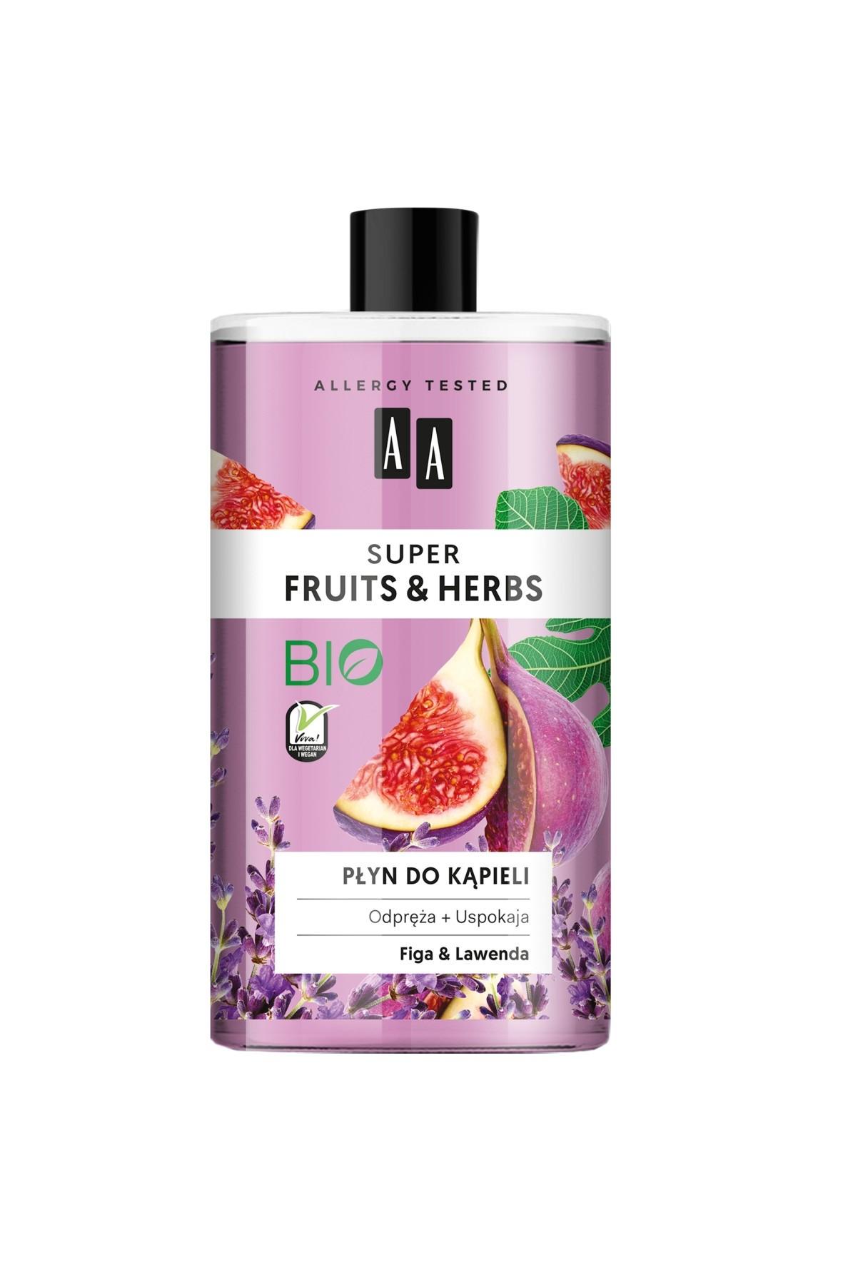 AA Super Fruits&Herbs płyn do kąpieli figa&lawenda 750 ml