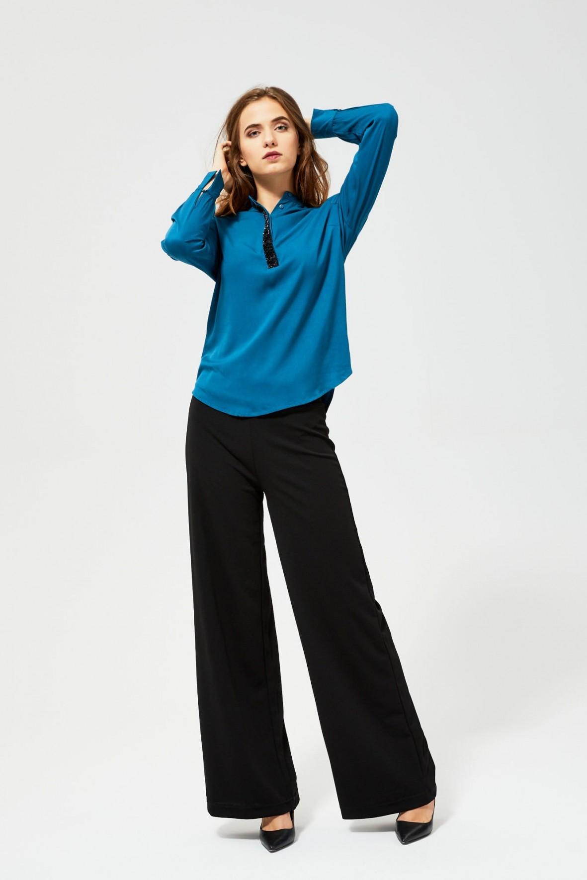 Bluzka koszulowa z długim rękawem- niebieska