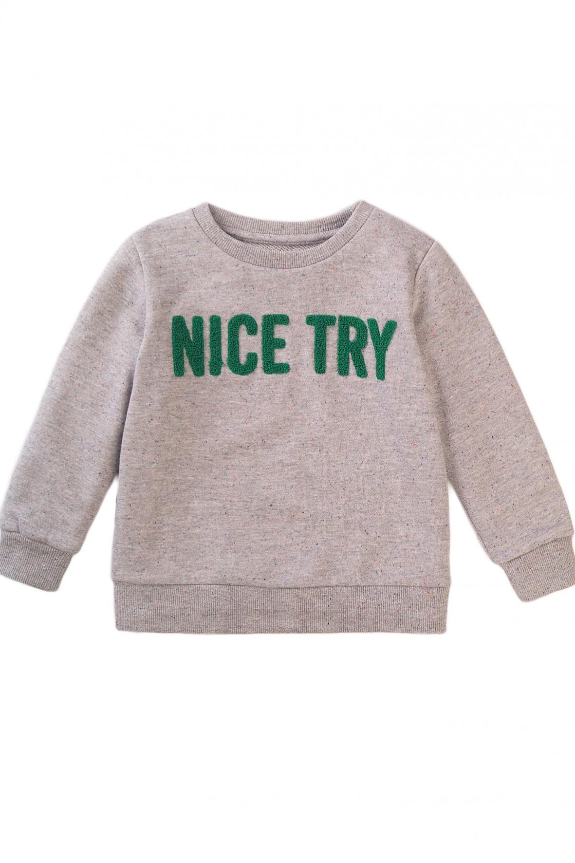 Szara bluzka dresowa z napisem Nice Try
