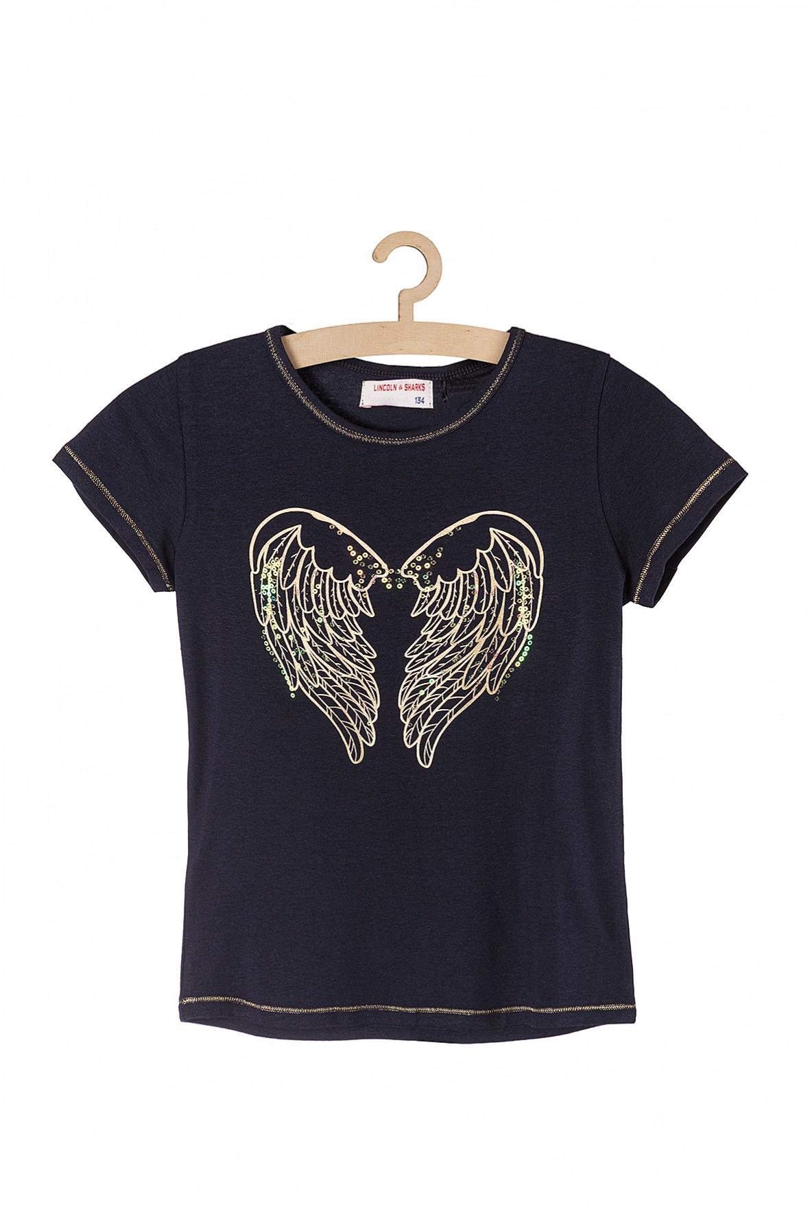 T- shirt dla dziewczynki- granatowy ze złotymi skrzydłami