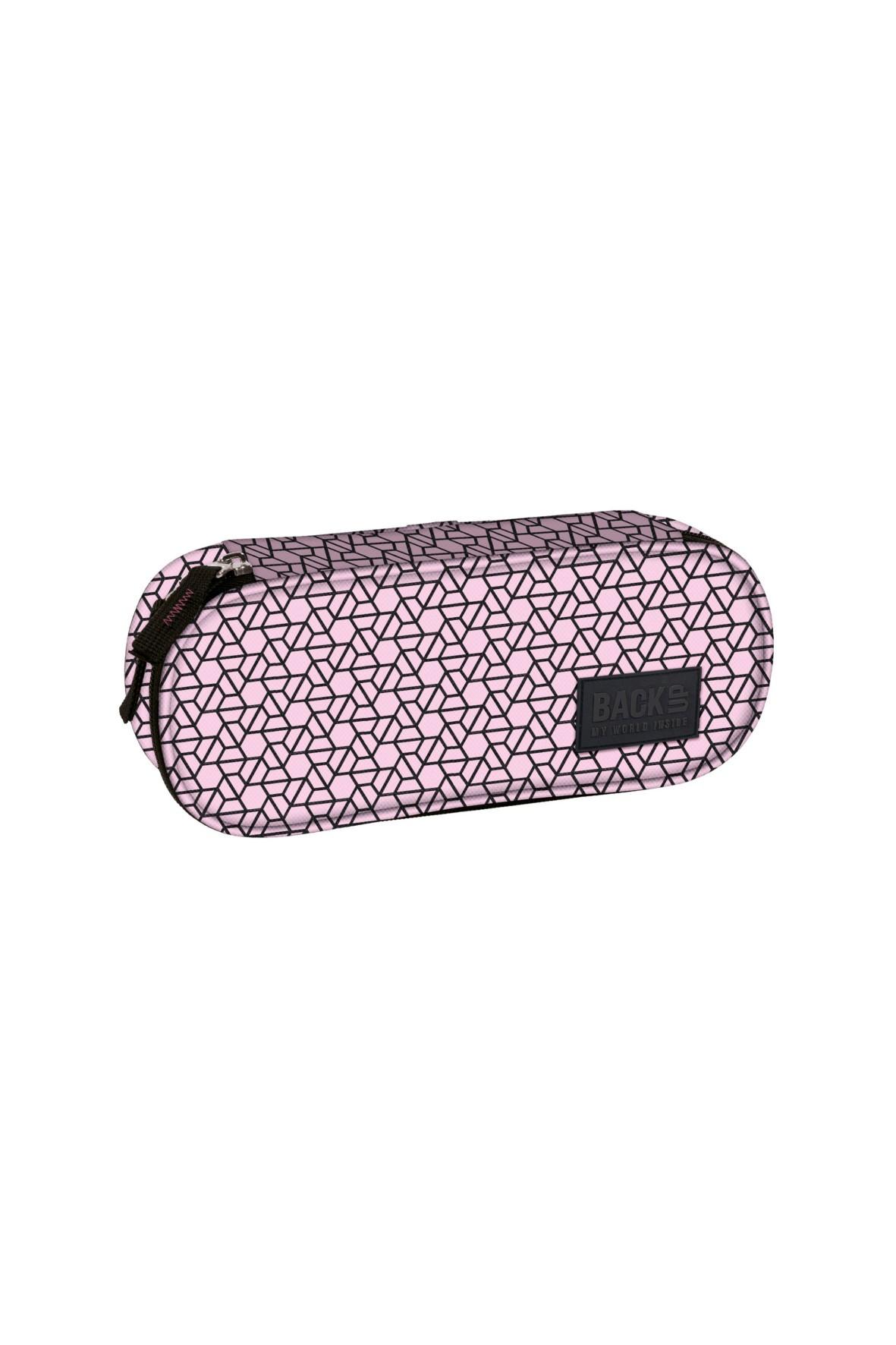 Piórnik szkolny dziewczęcy- różowy w czarne wzory