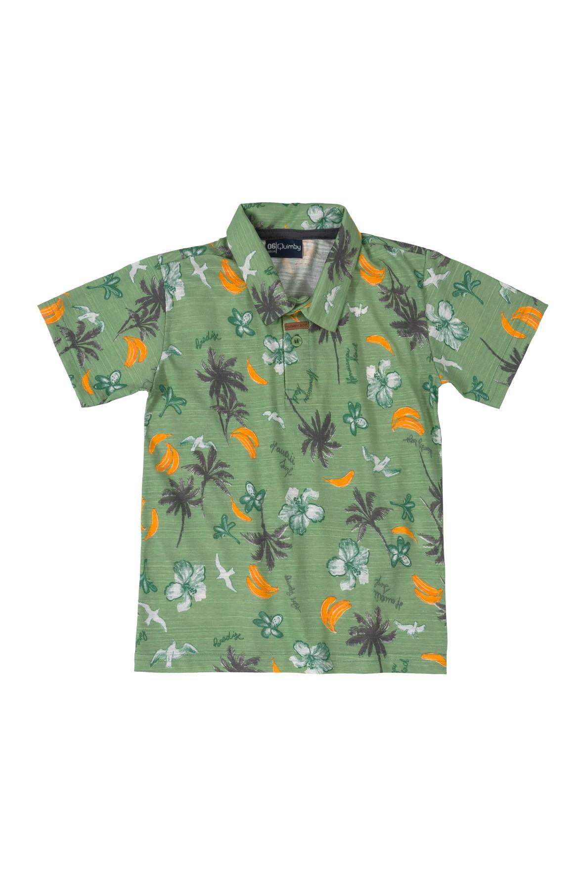 Zielona bluzka chłopięca z kołnierzykiem