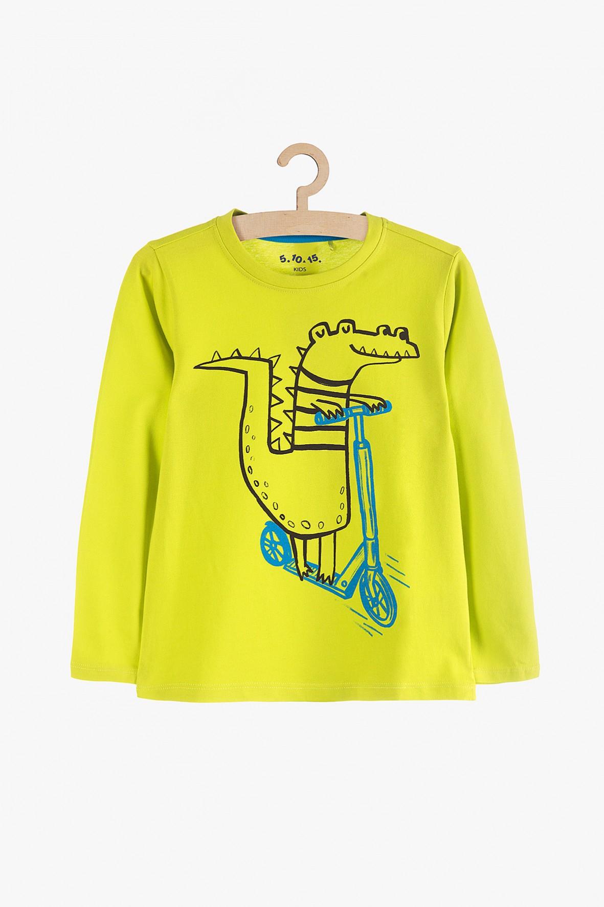 Bluzka chłopięca z długim rękawem - z krokodylem na hulajnodze