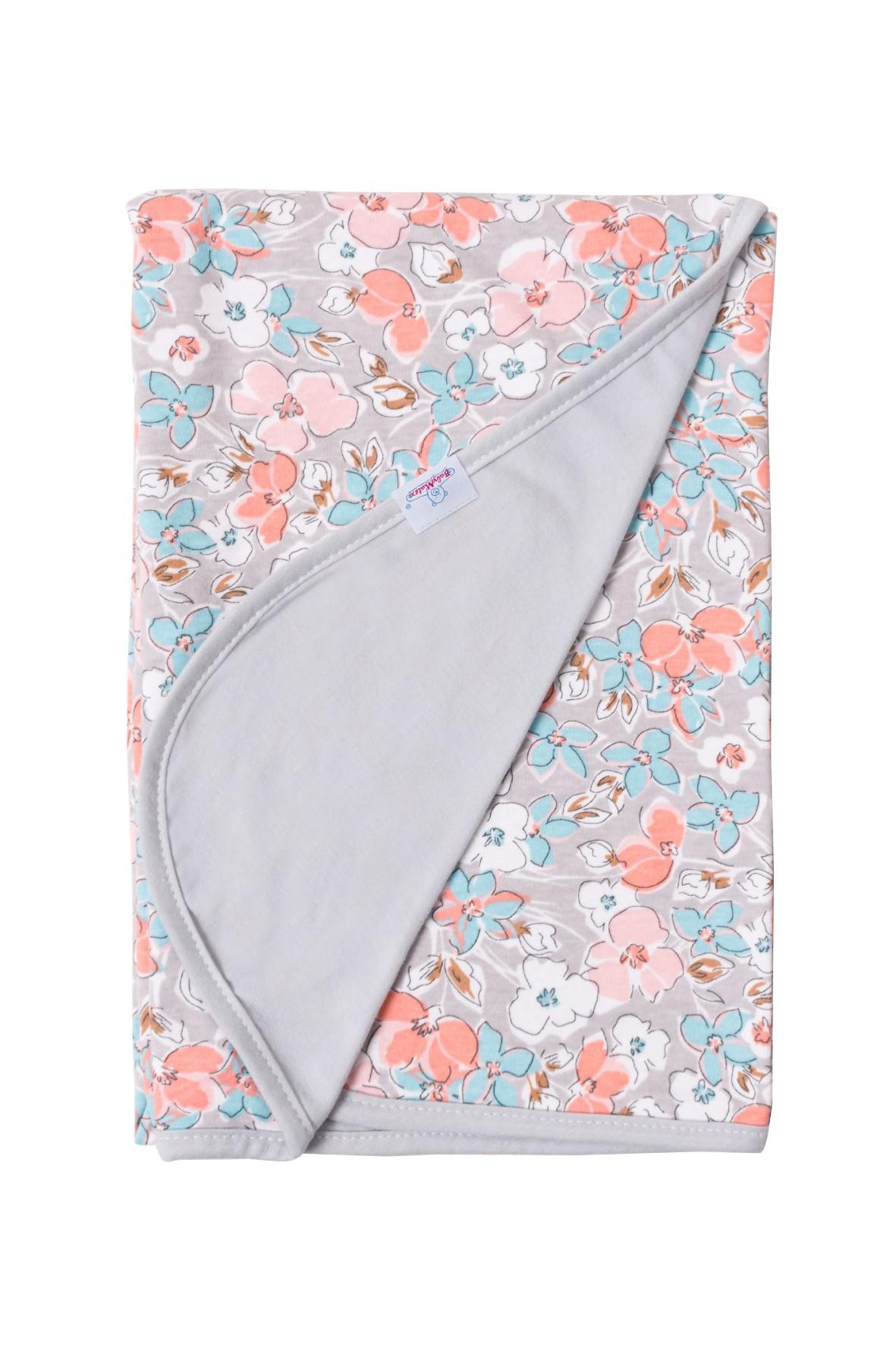 Kocyk Ines bawełniany-dwustronny w kwiaty roz.75x100 cm