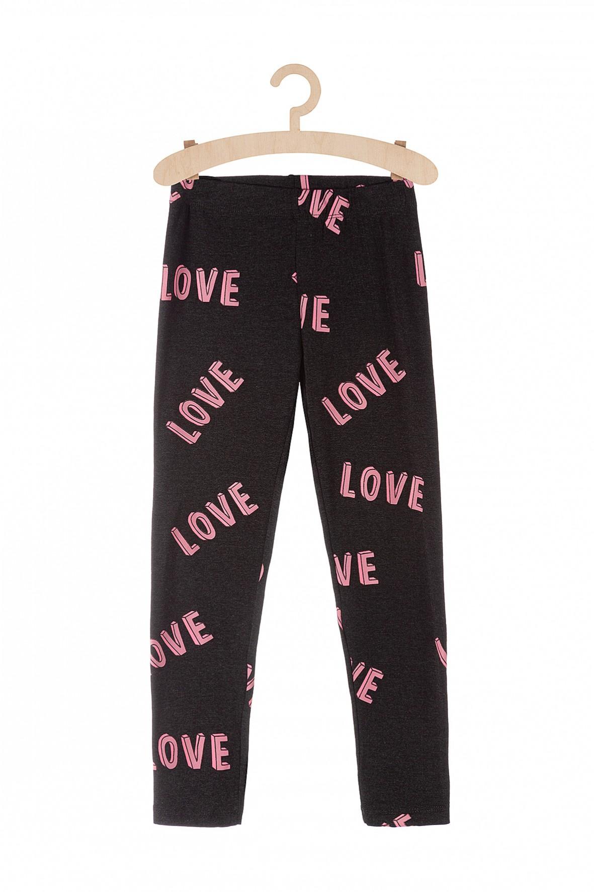 Leginsy dziewczęce z napisem Love