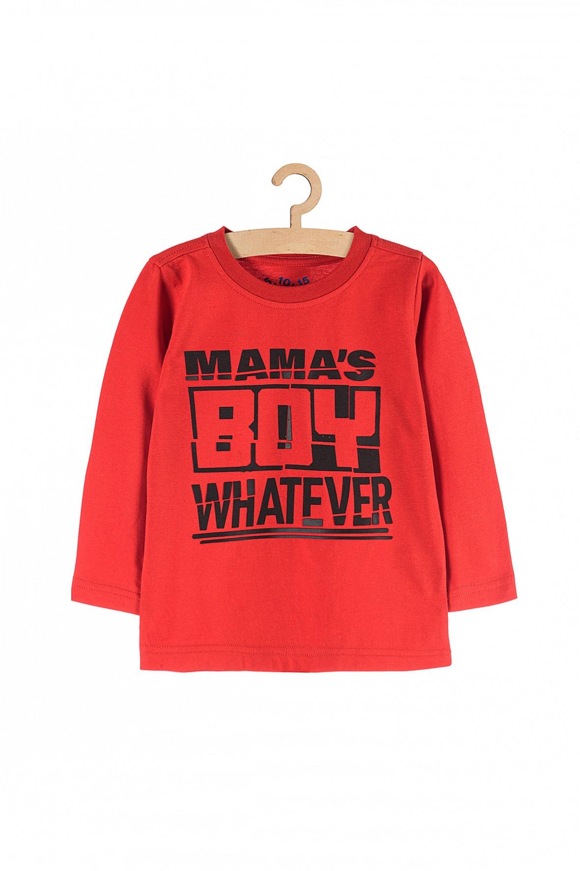Bluzka z długim rękawem z napisem Mamas Boy