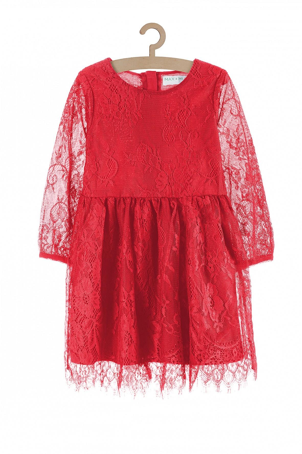 Sukienka dziewczęca- z czerwonej koronki