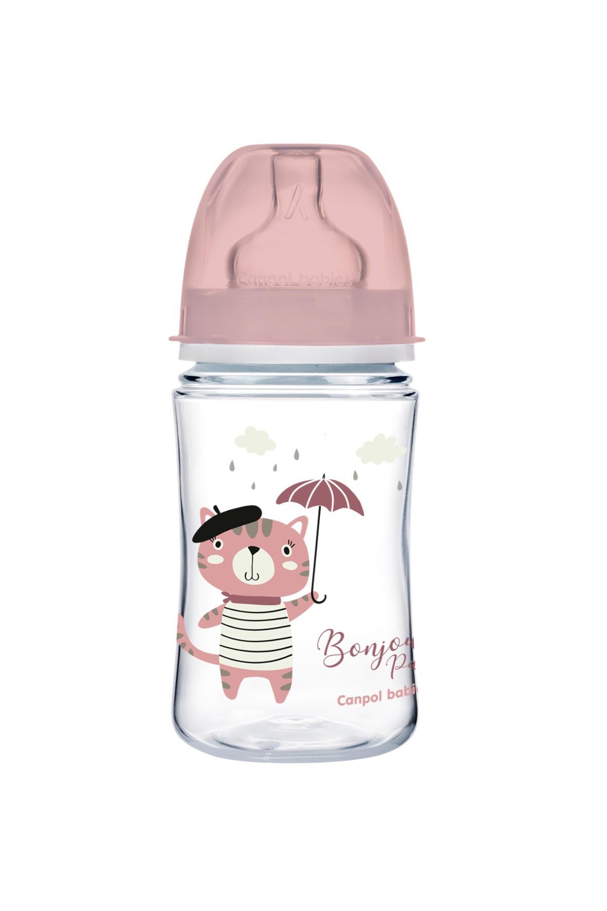 Canpol babies butelka szeroka antykolkowa 240 ml PP Easy Start BONJOUR - różowa