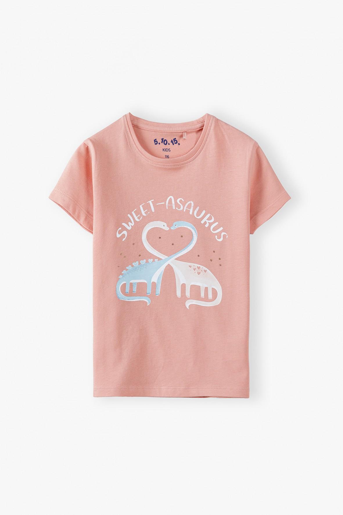 Bawełniany t-shirt dziewczęcy z dinozaurami