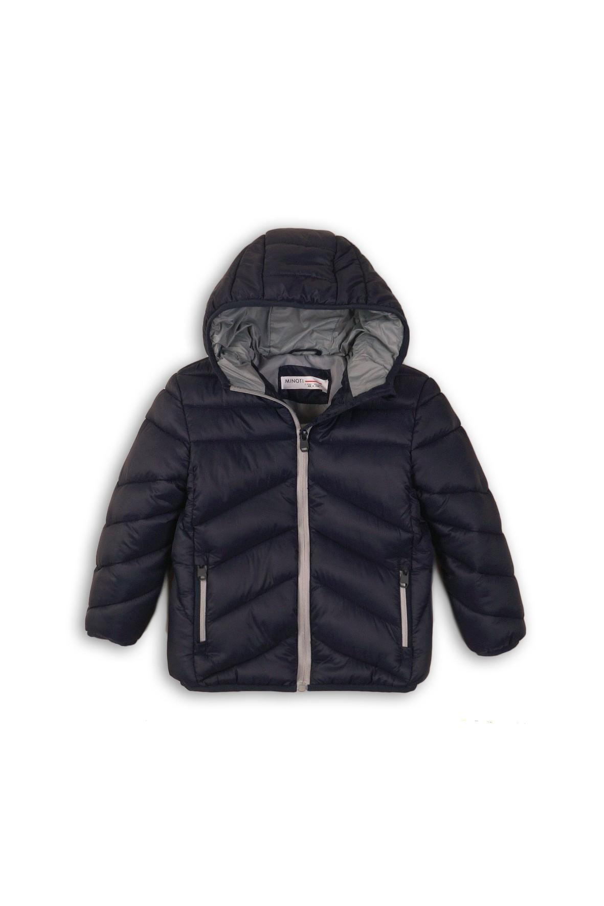 Granatowa pikowana kurtka dla chłopca- pikowana z kapturem