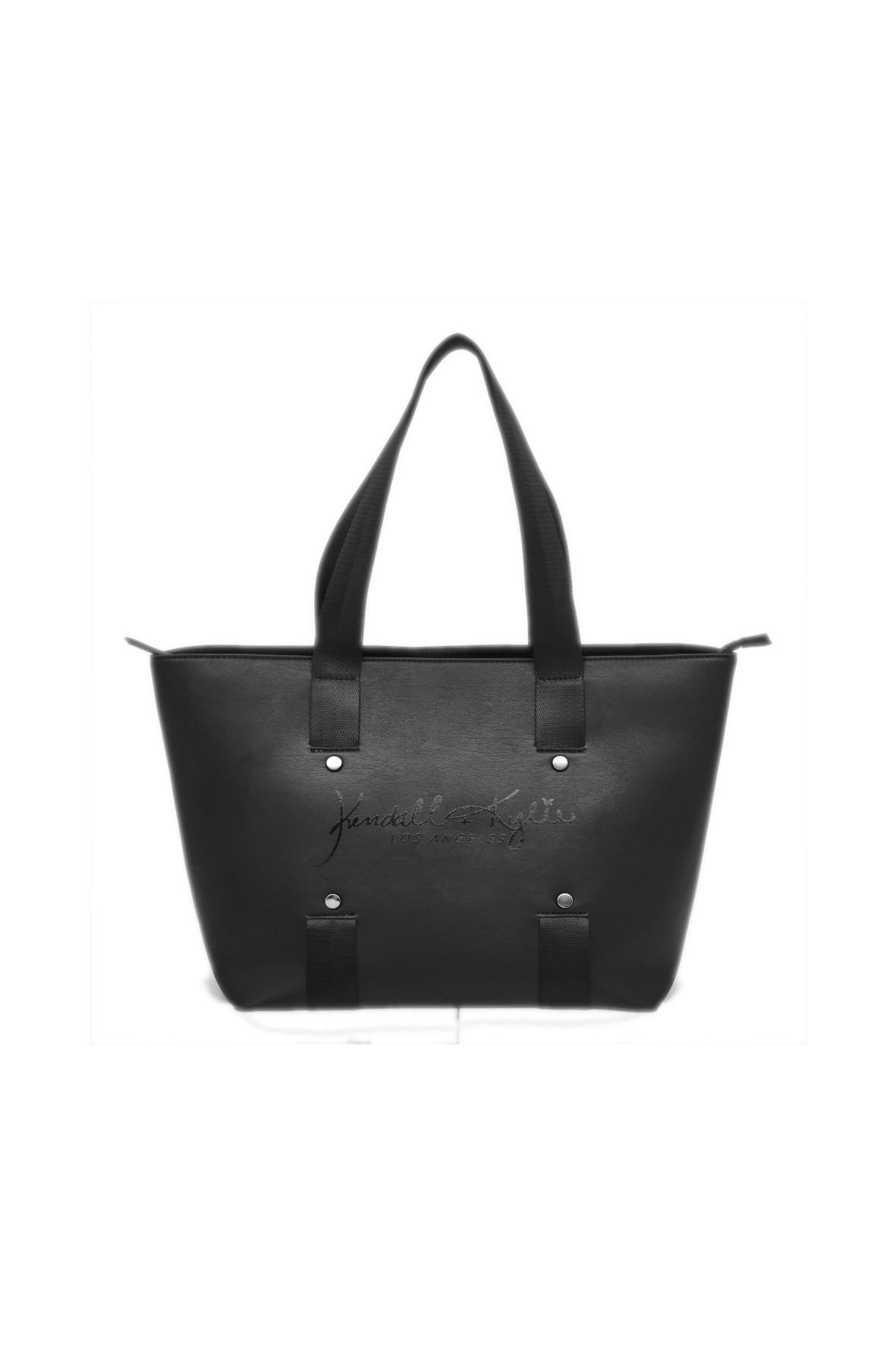 Czarna, pojemna torba typu shopper z krótkimi czarnymi uszami