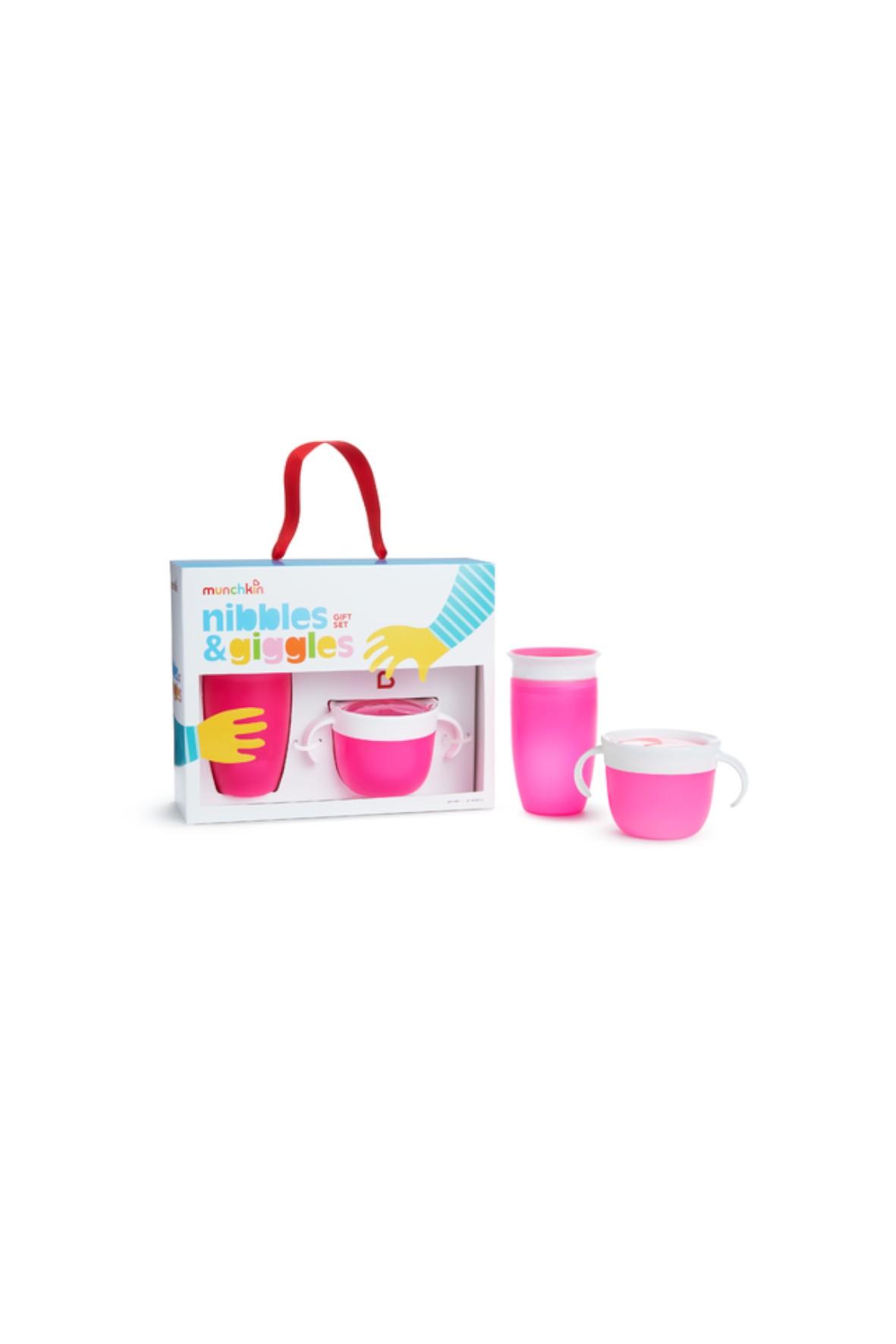 Zestaw naczyń dla dziecka - kubek 360 i kubek niewysypek-  różowy