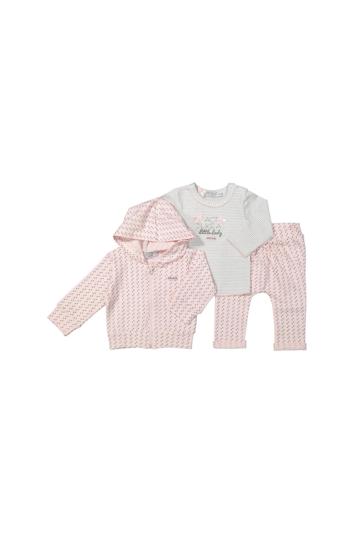 Komplet niemowlęcy bluza, bluzka z długim rękawem, spodnie dresowe
