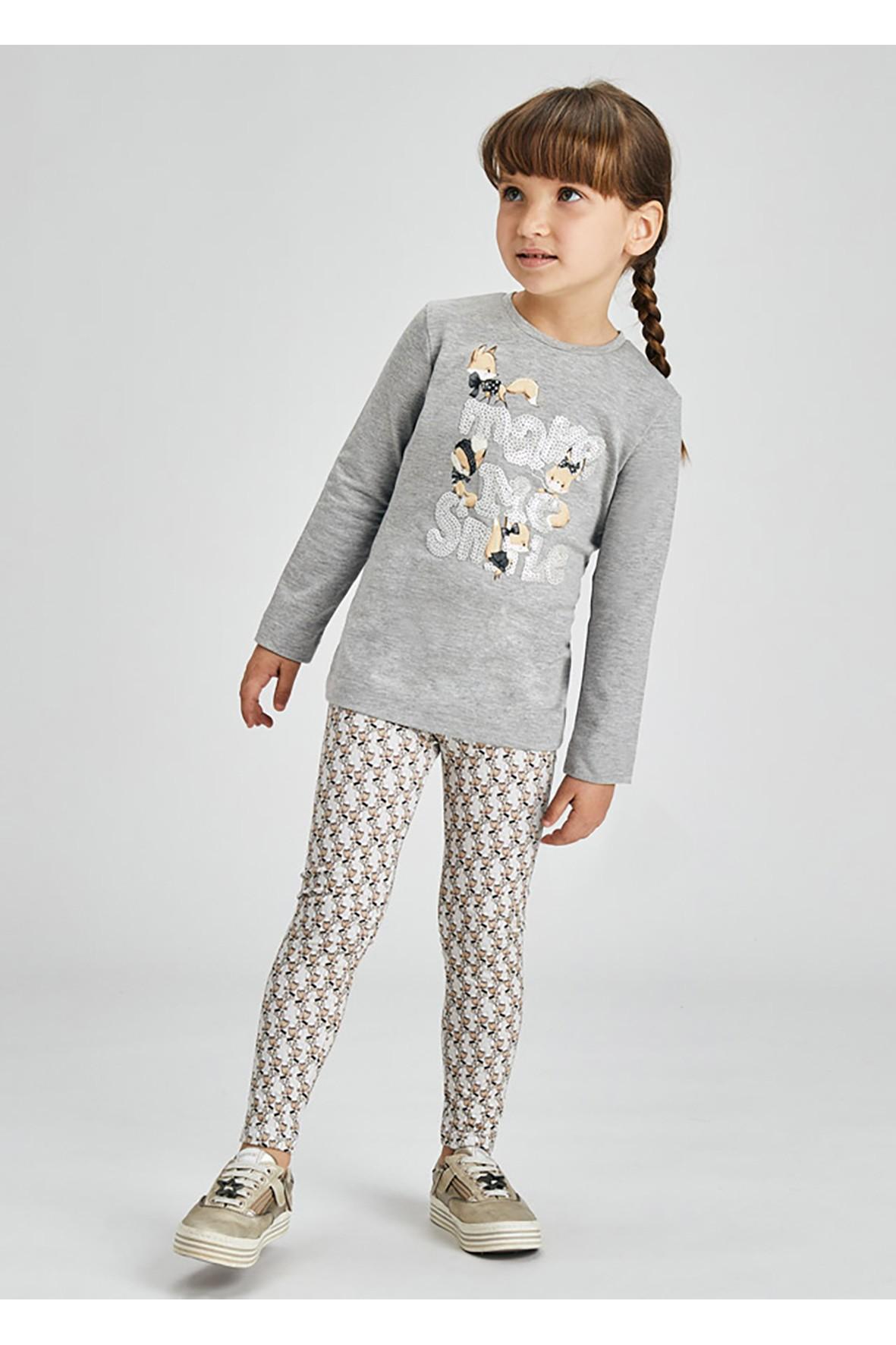 Komplet dziewczęcy - bluzka z długim rękawem + leginsy we wzory